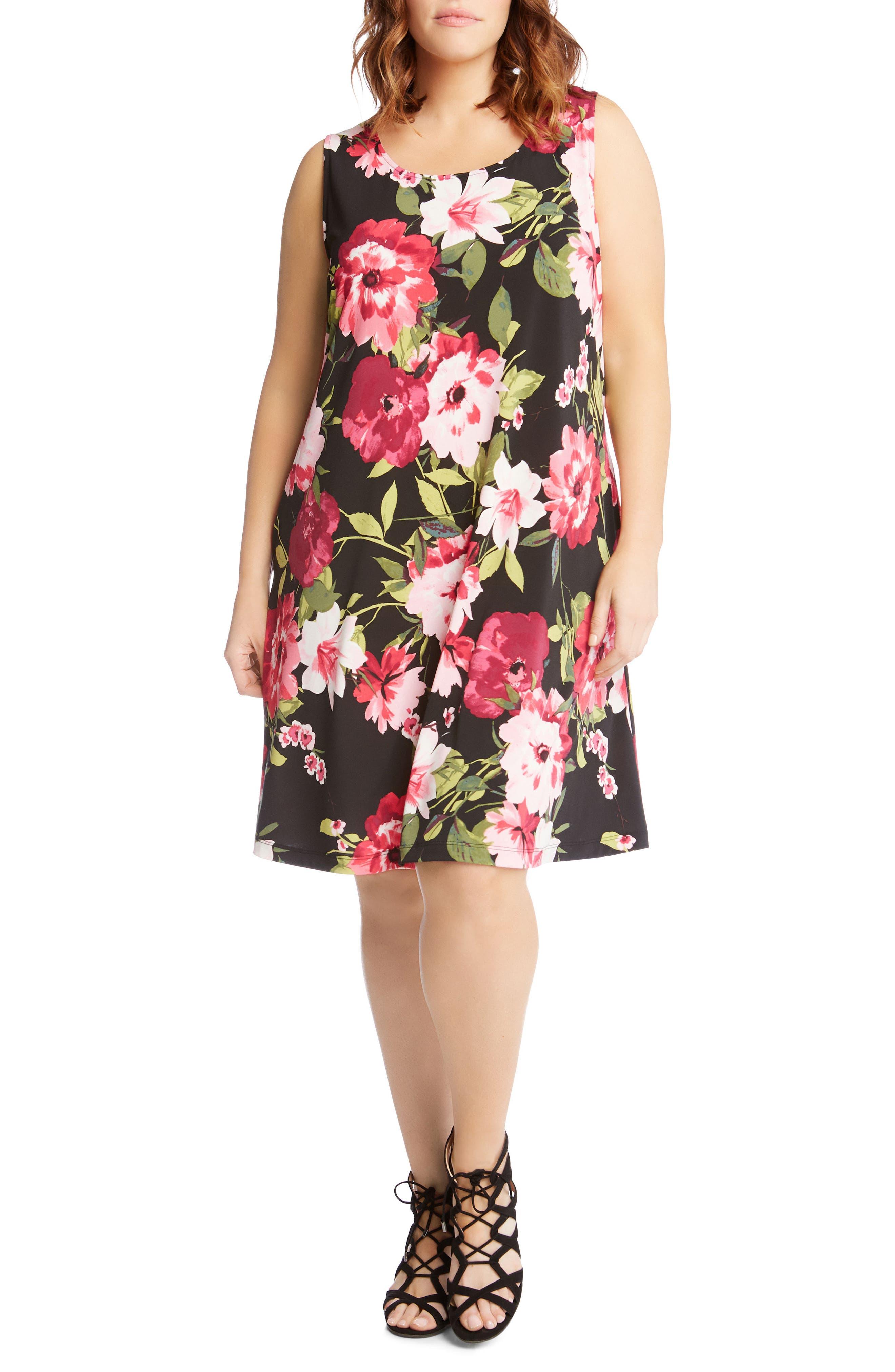 Chloe Floral Trapeze Dress,                         Main,                         color, Flower