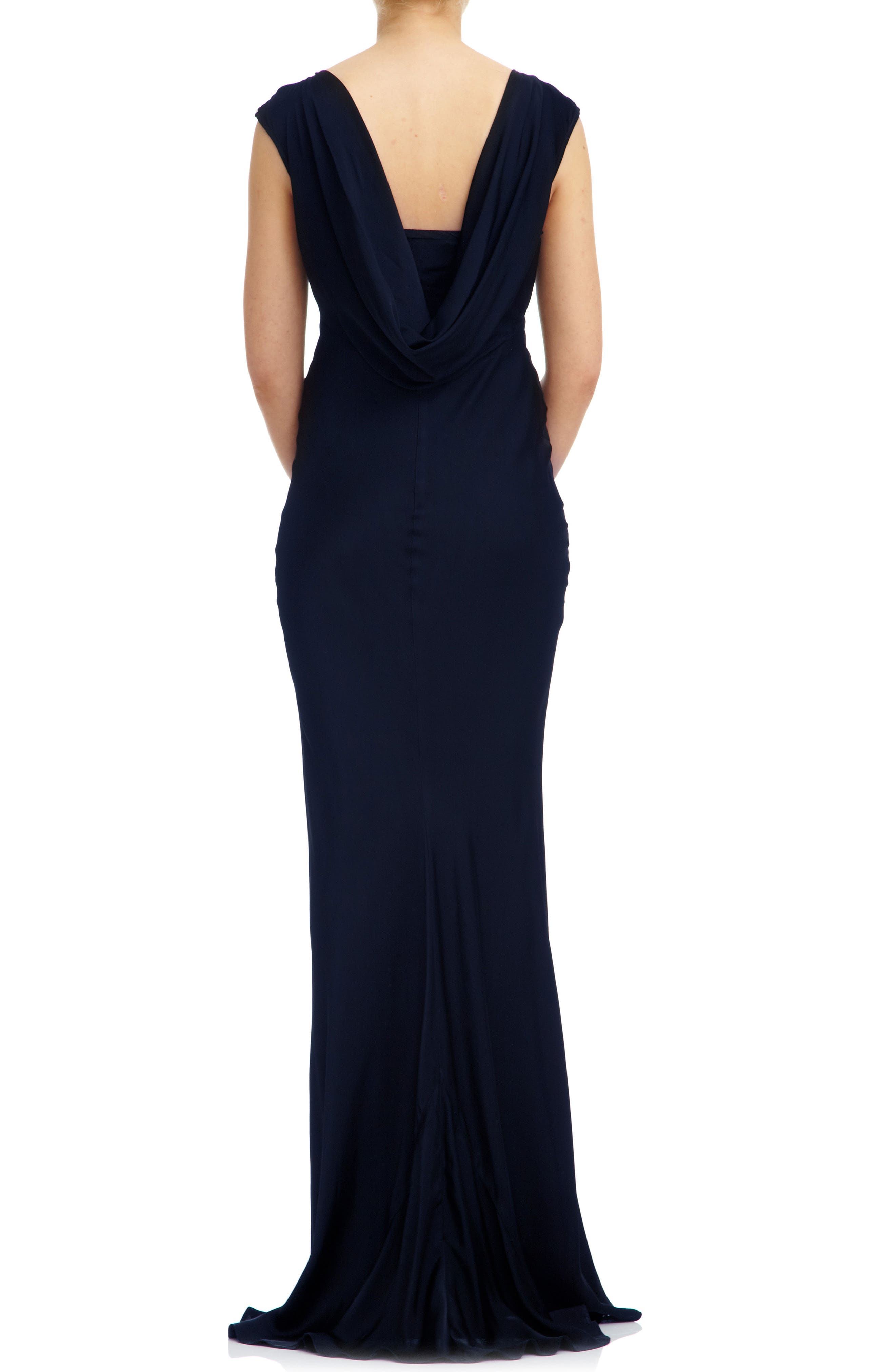Salma Cowl Back Gown,                             Alternate thumbnail 2, color,                             Navy