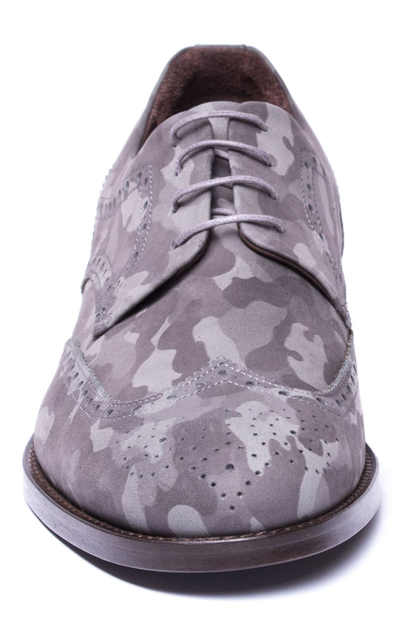 Caleb Camo Wingtip Derby,                             Alternate thumbnail 4, color,                             Grey Camo Leather