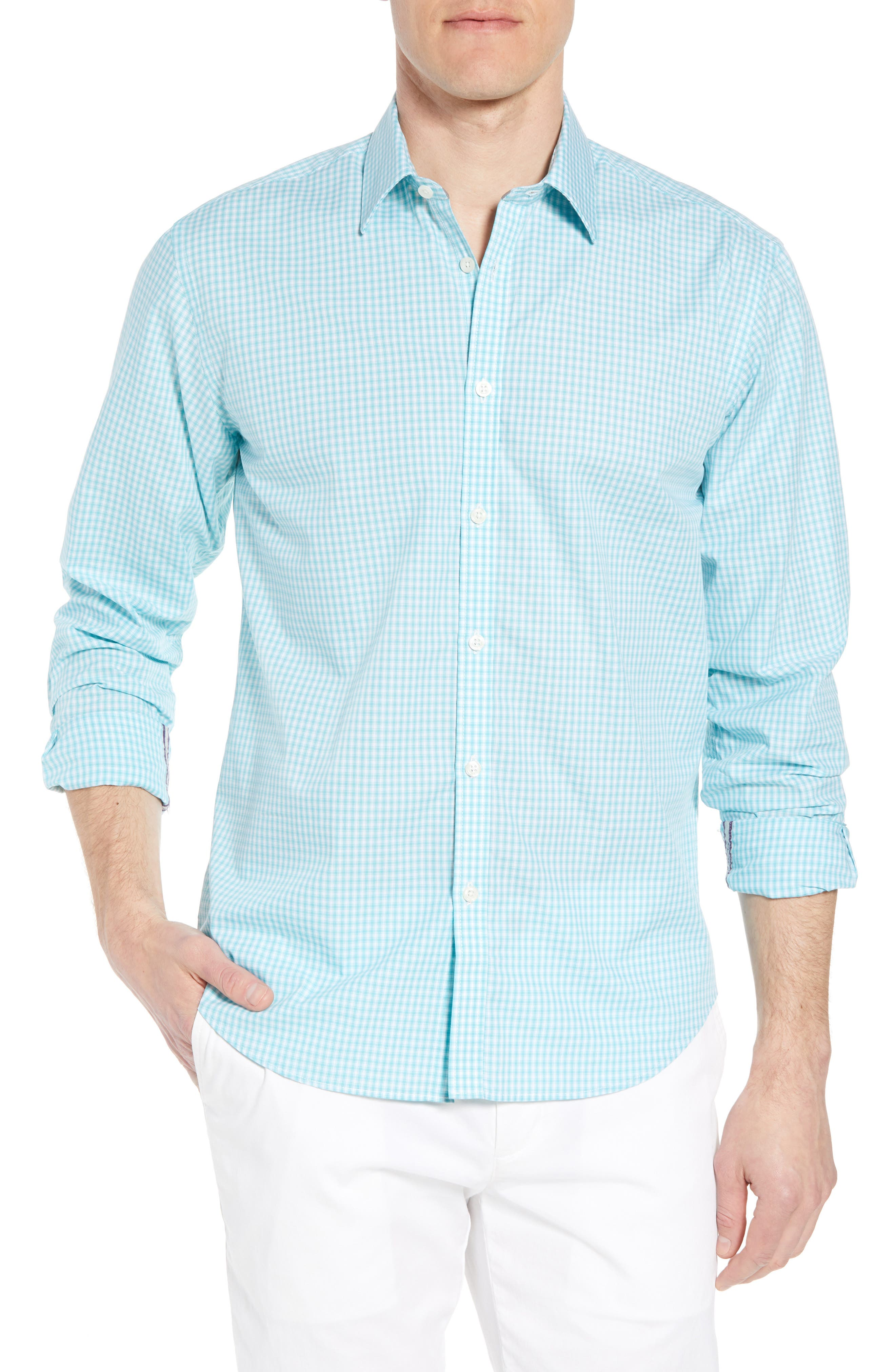 Comfort Fit Check Sport Shirt,                             Main thumbnail 1, color,                             Turquoise