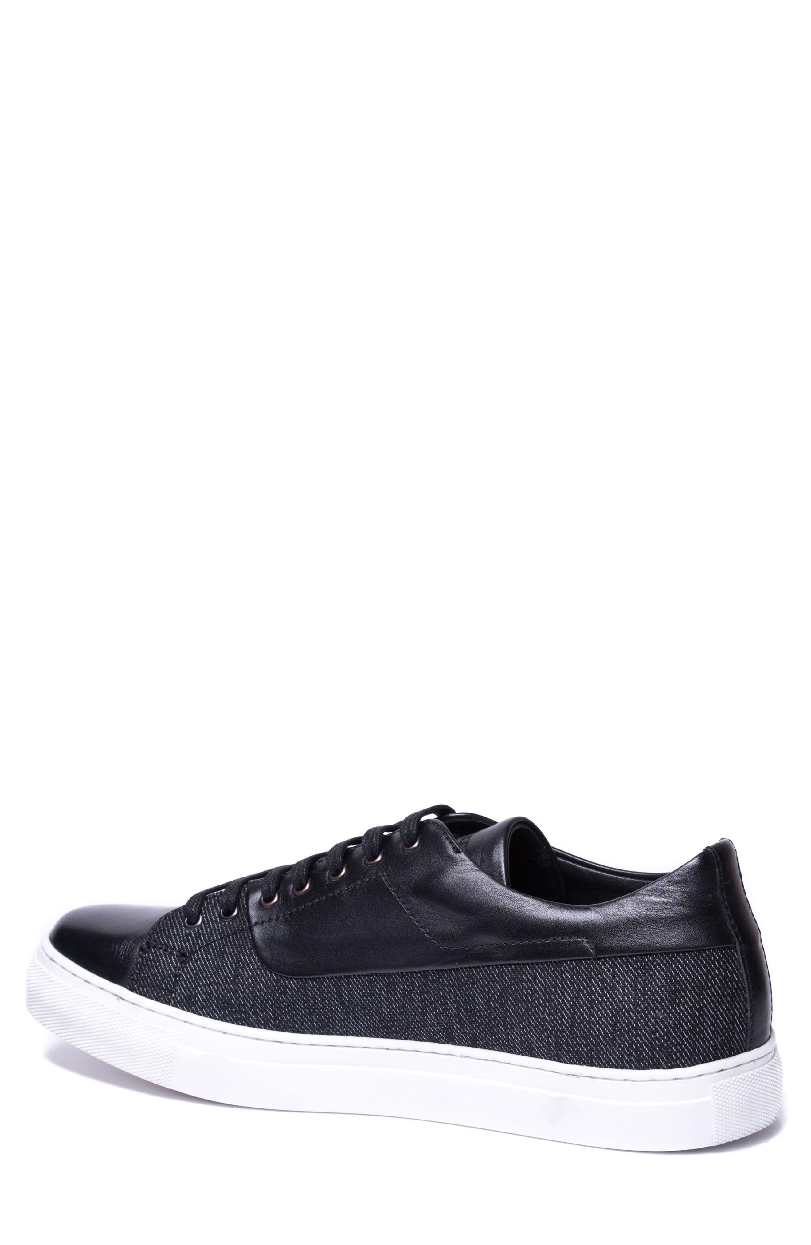 Luke Low Top Sneaker,                             Alternate thumbnail 2, color,                             Black Leather