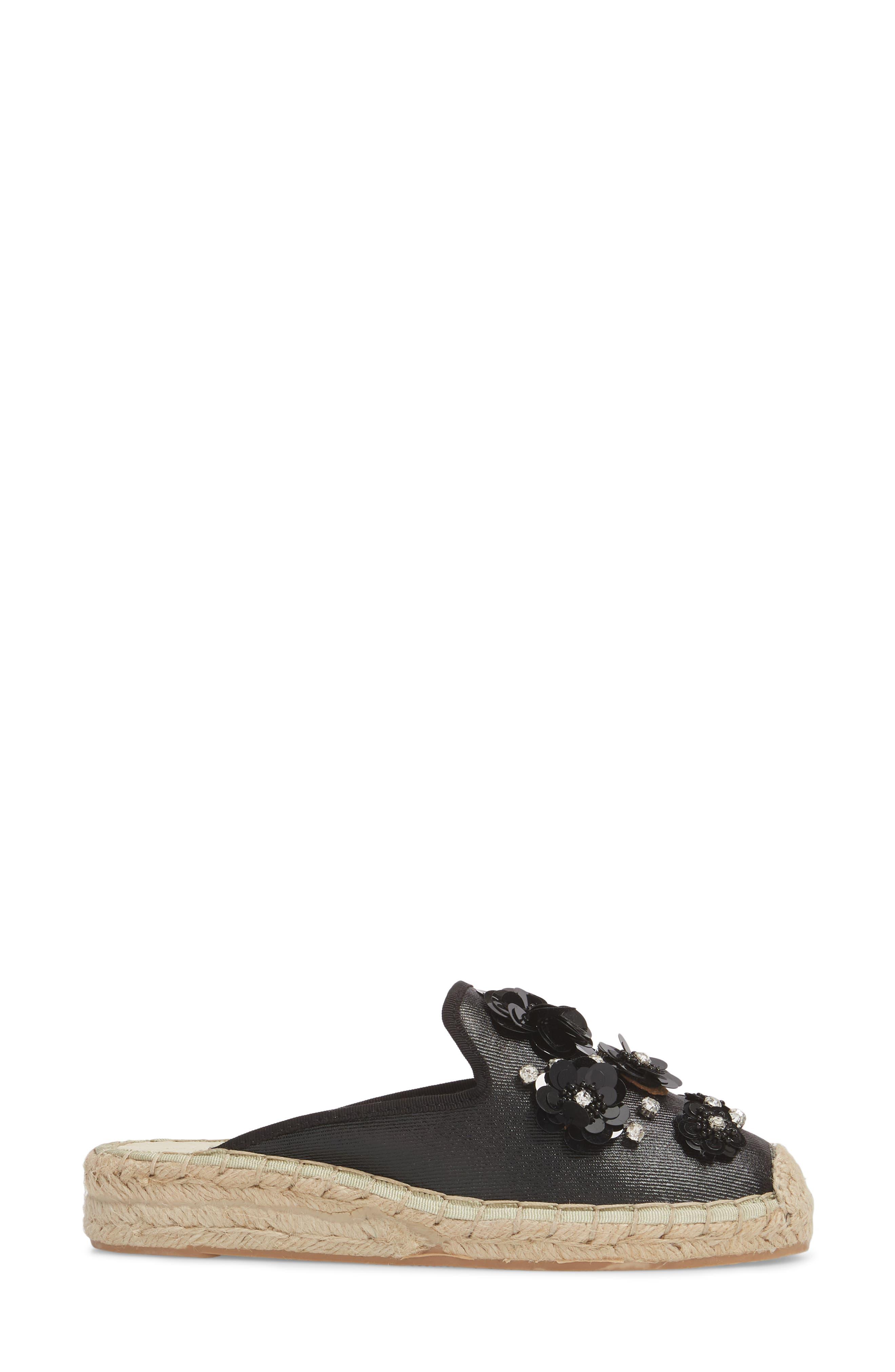 Tia Embellished Espadrille Mule,                             Alternate thumbnail 3, color,                             Black Fabric