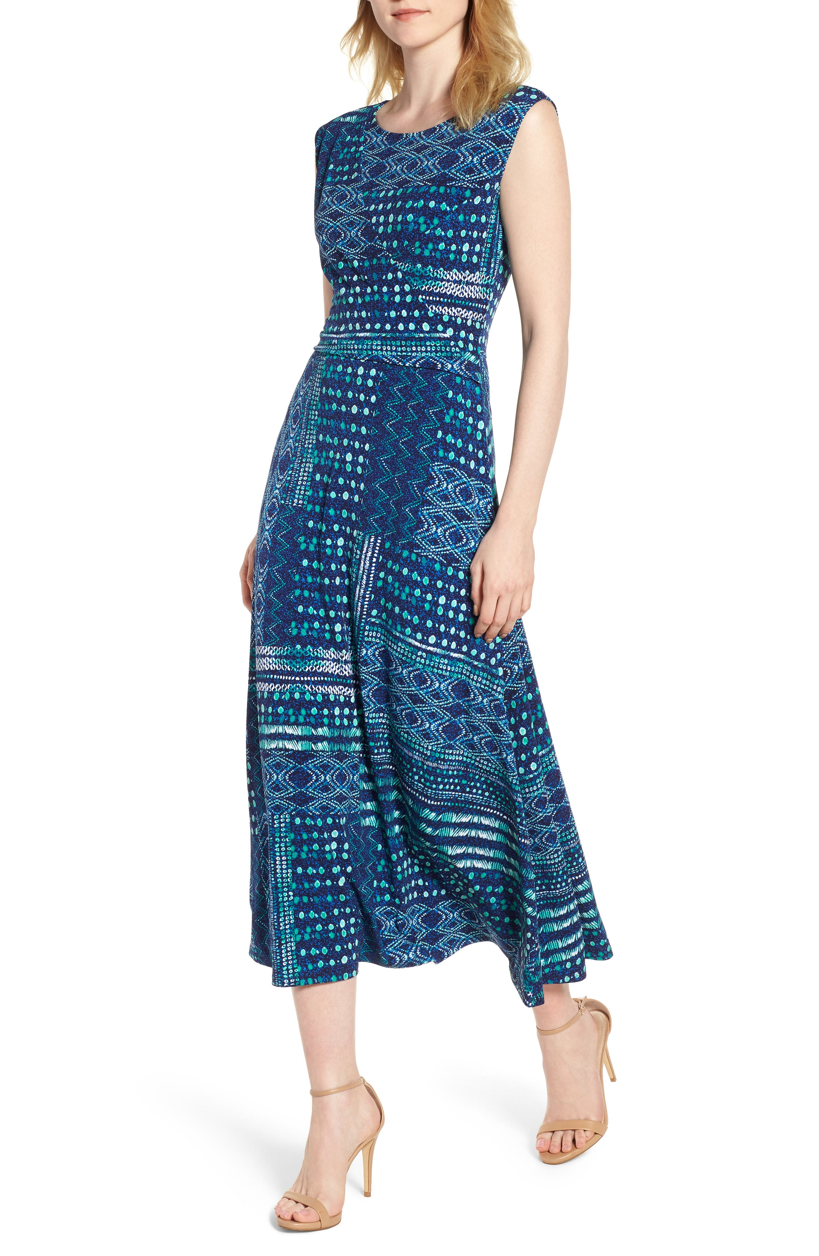 Chaus Patchwork Waves Ruched Stretch Jersey Dress