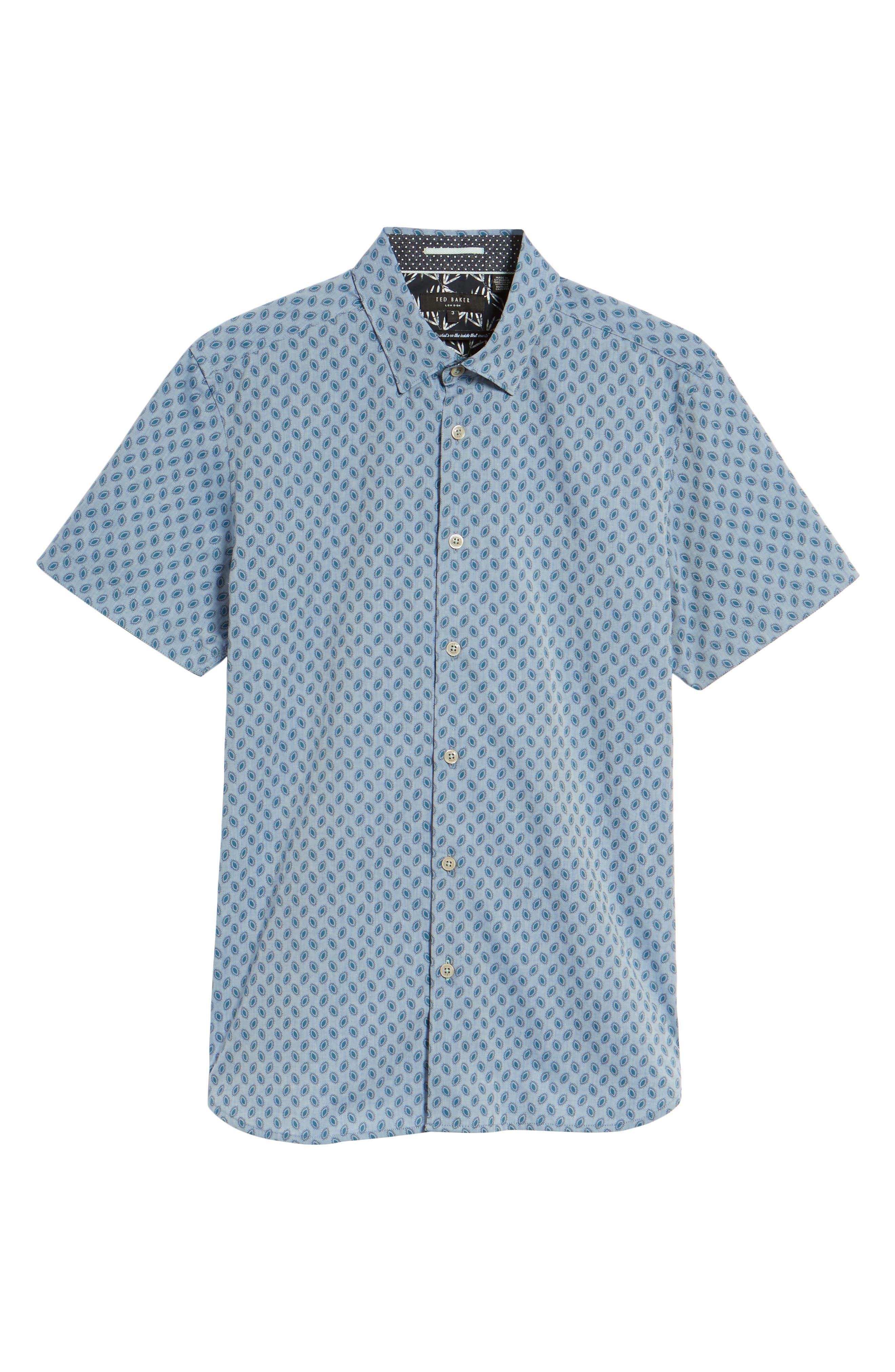 Newfott Extra Slim Fit Short Sleeve Sport Shirt,                             Alternate thumbnail 6, color,                             Blue
