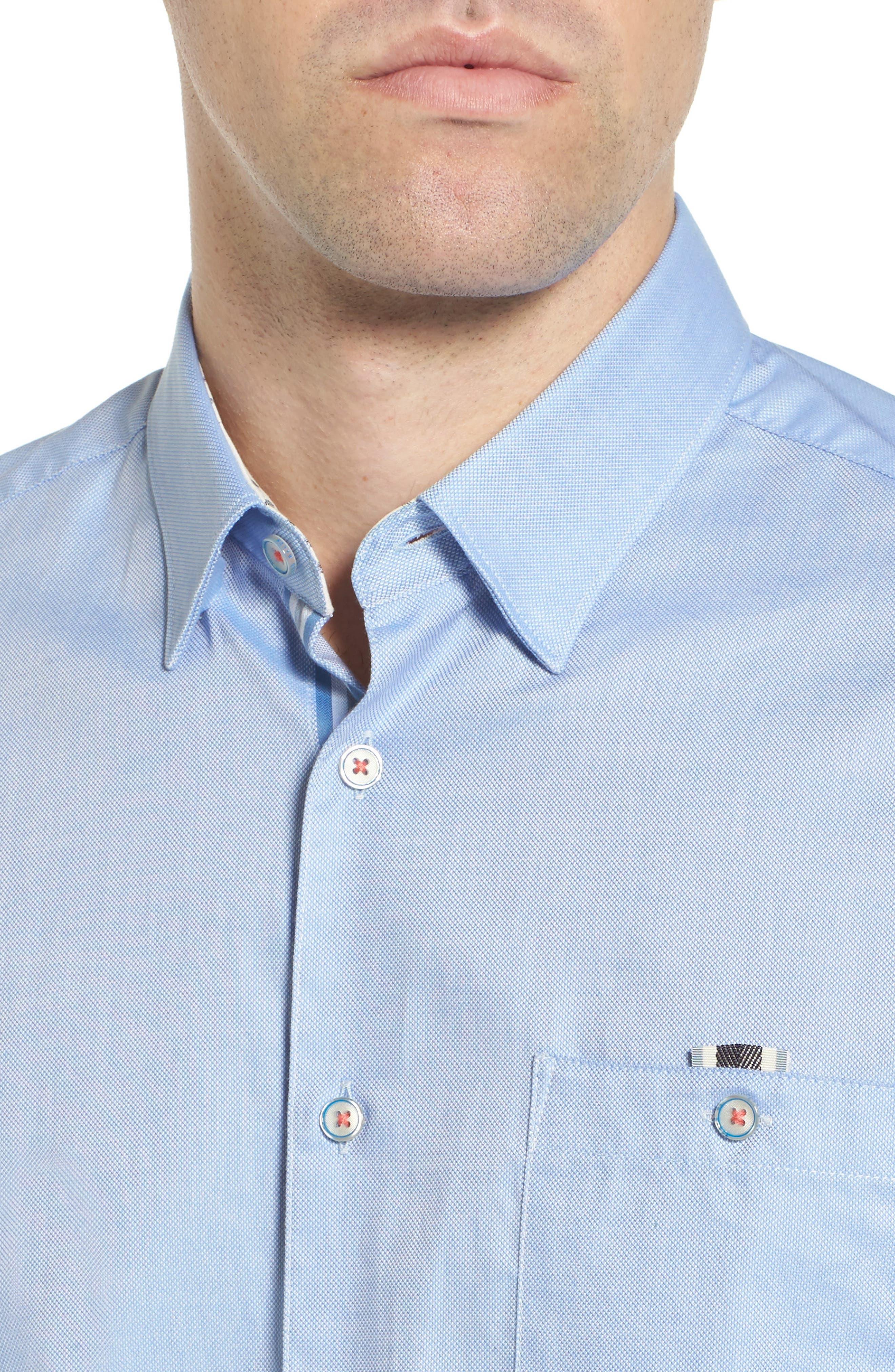 Wallott Extra Slim Fit Short Sleeve Sport Shirt,                             Alternate thumbnail 2, color,                             Blue