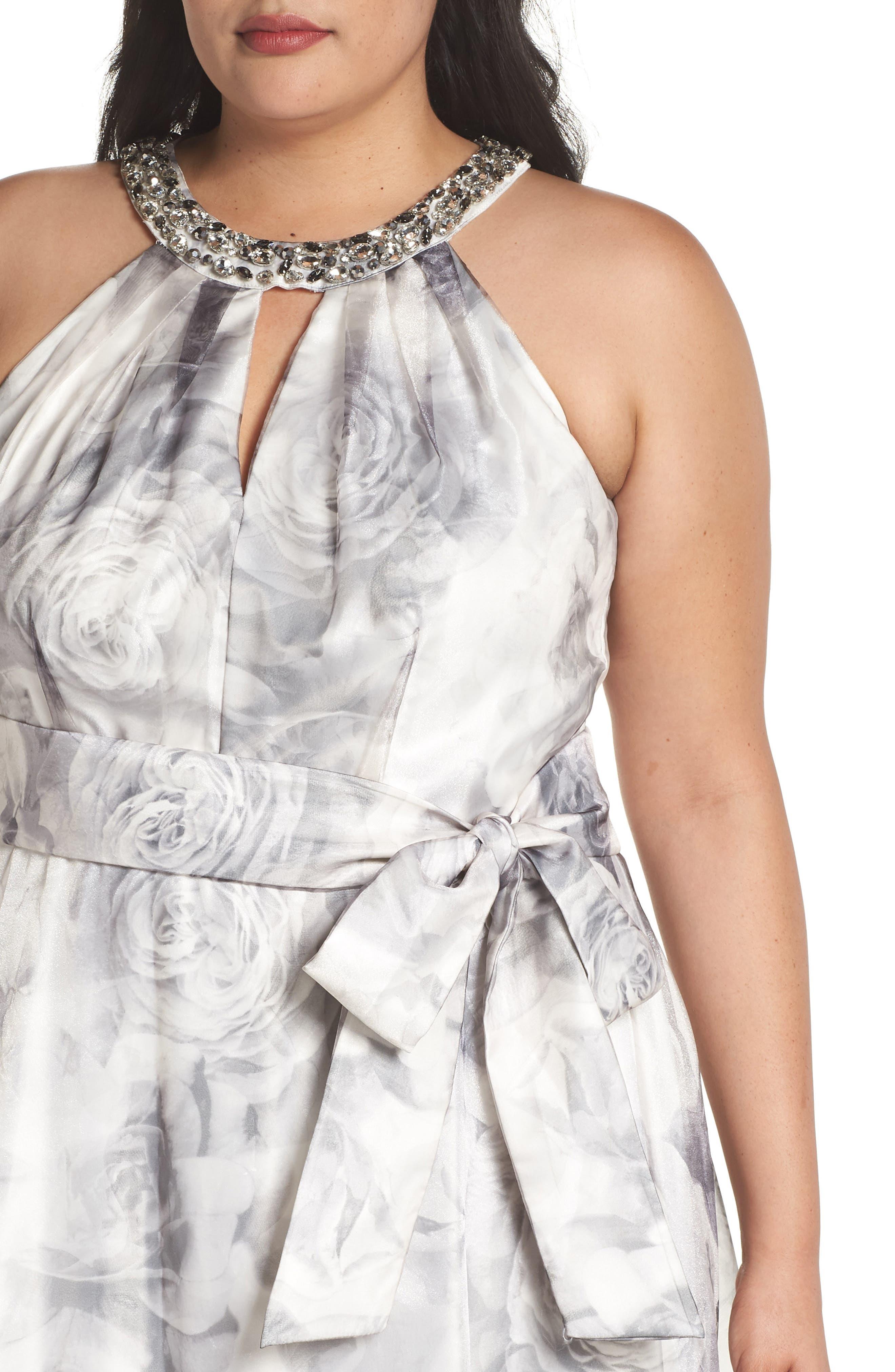 Embellished Neck Rose Print Ballgown,                             Alternate thumbnail 4, color,                             Black/ White