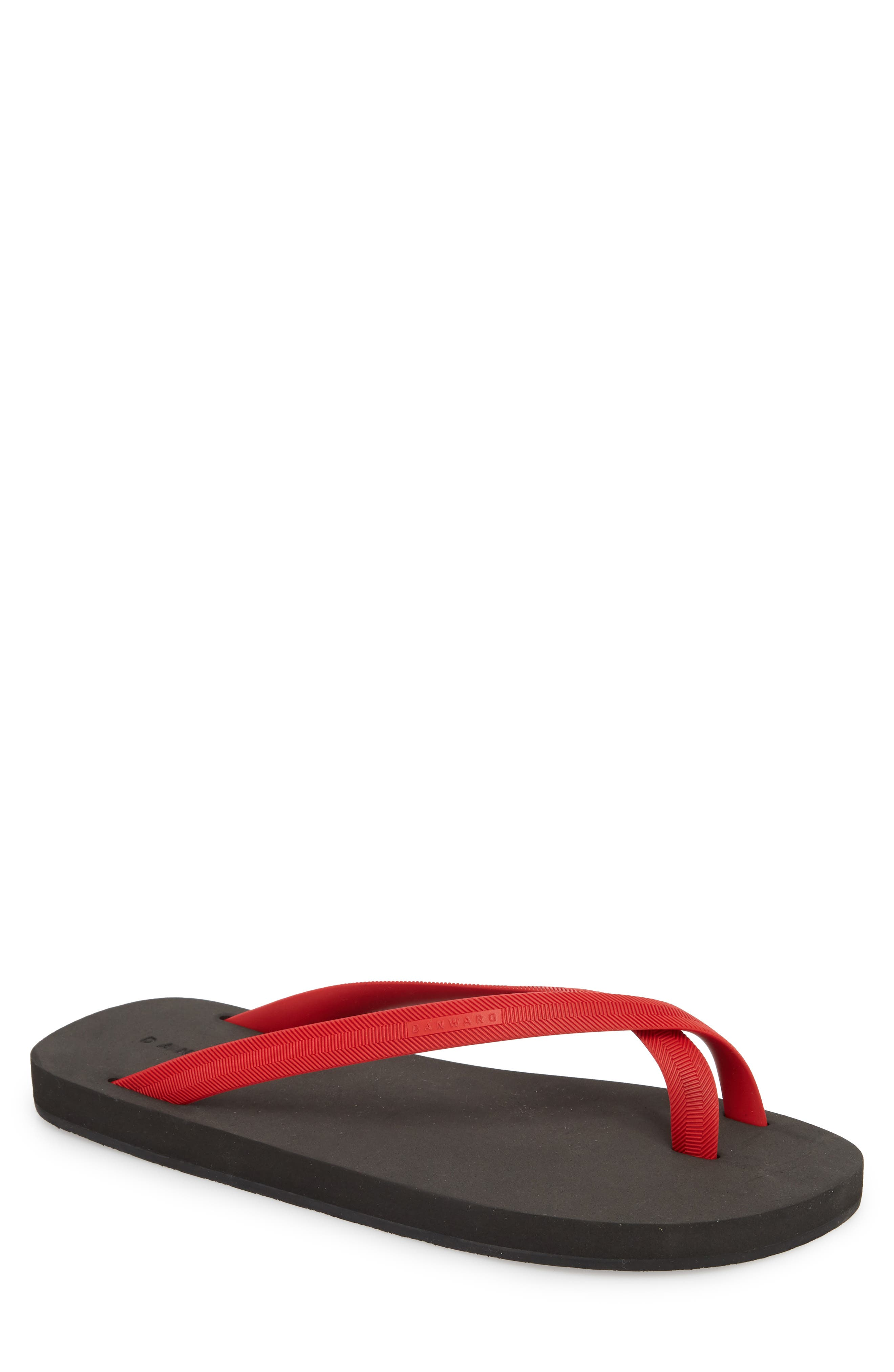 Cross Toe Flip Flop,                         Main,                         color, Red/ Black