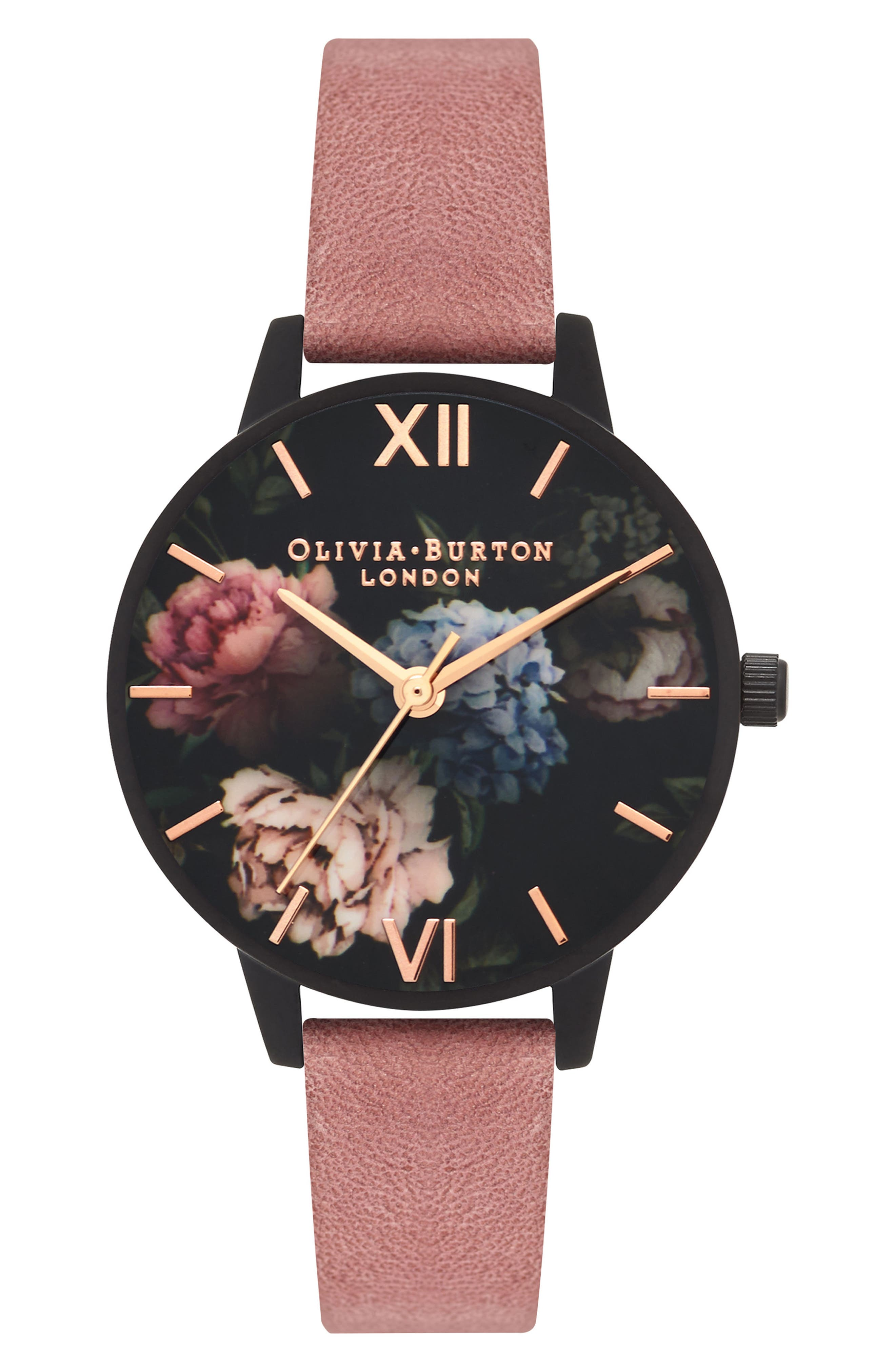 After Dark Leather Strap Watch, 30mm,                             Main thumbnail 1, color,                             Rose/ Floral/ Black