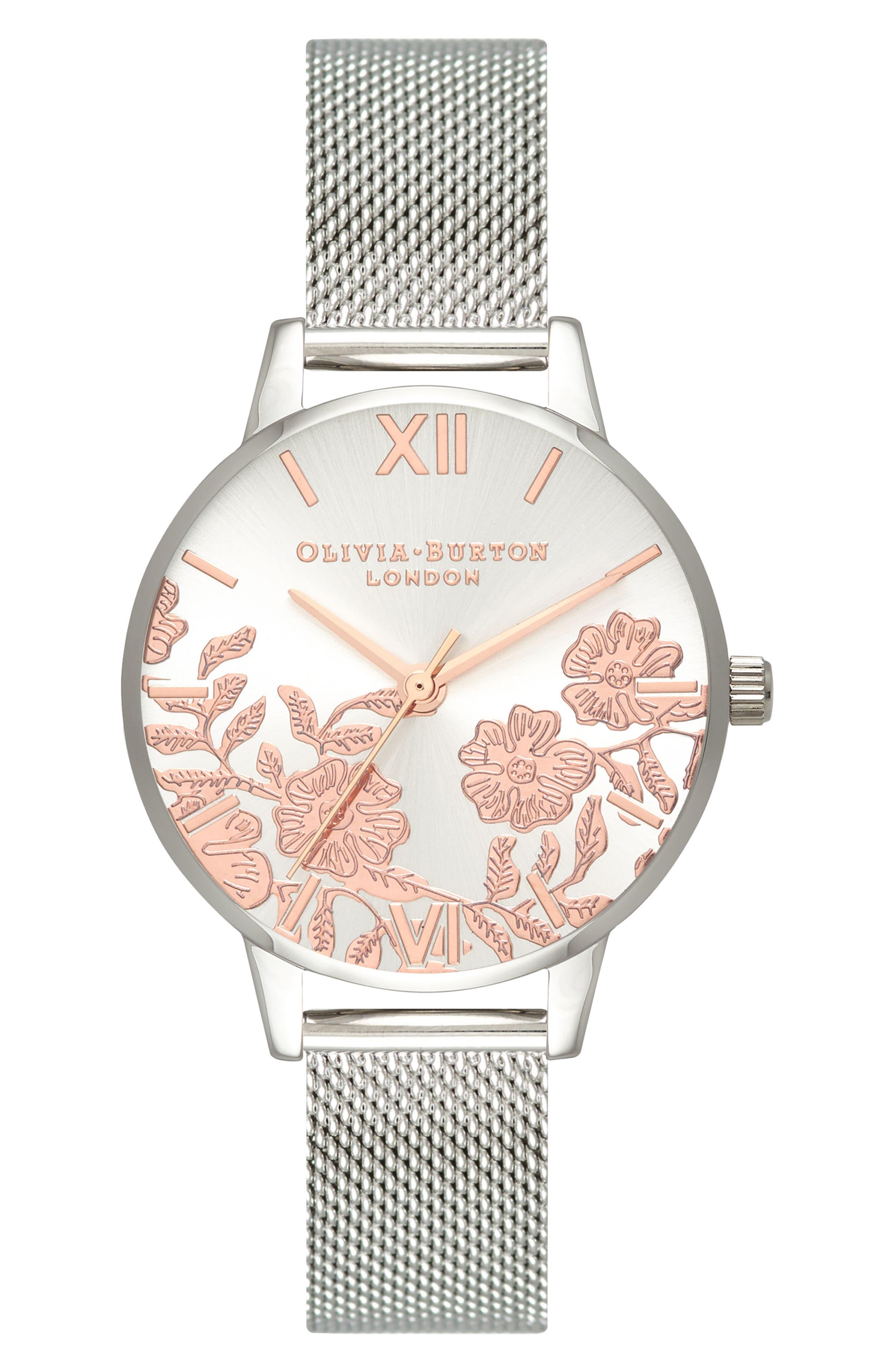 Lace Detail Mesh Strap Watch, 30mm,                             Main thumbnail 1, color,                             Silver/ Lace/ Silver
