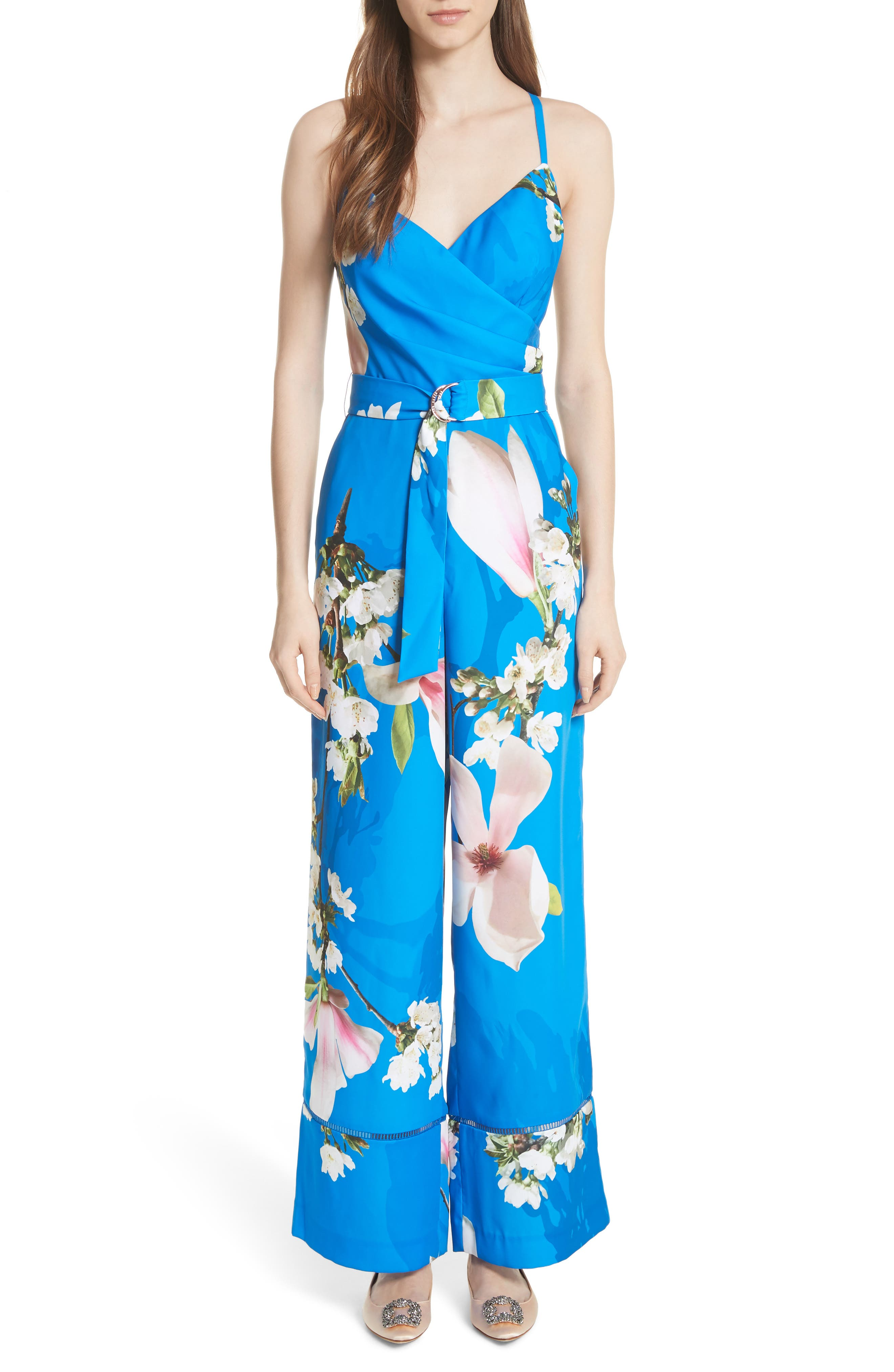 Harmony Wrap Front Floral Jumpsuit,                             Main thumbnail 1, color,                             Bright Blue