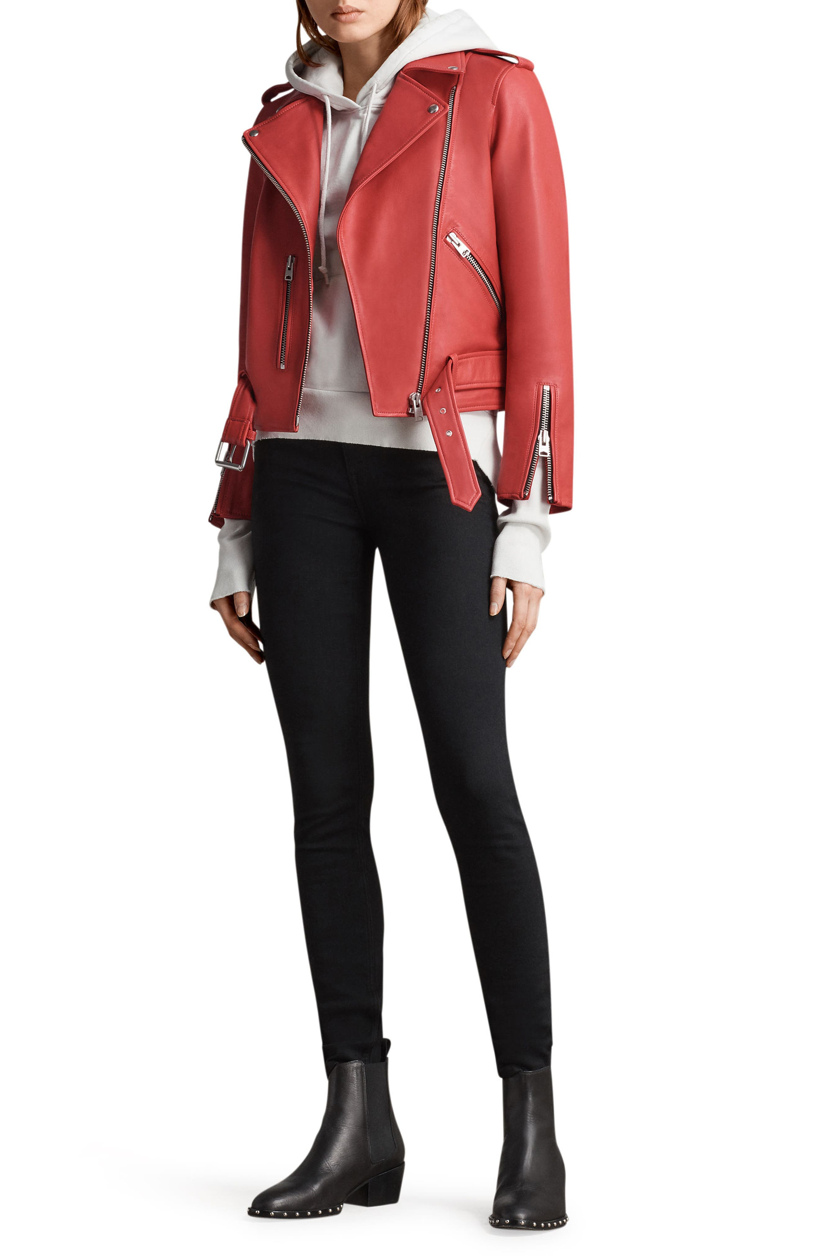 Balfern Leather Biker Jacket,                             Alternate thumbnail 2, color,                             Coral Red