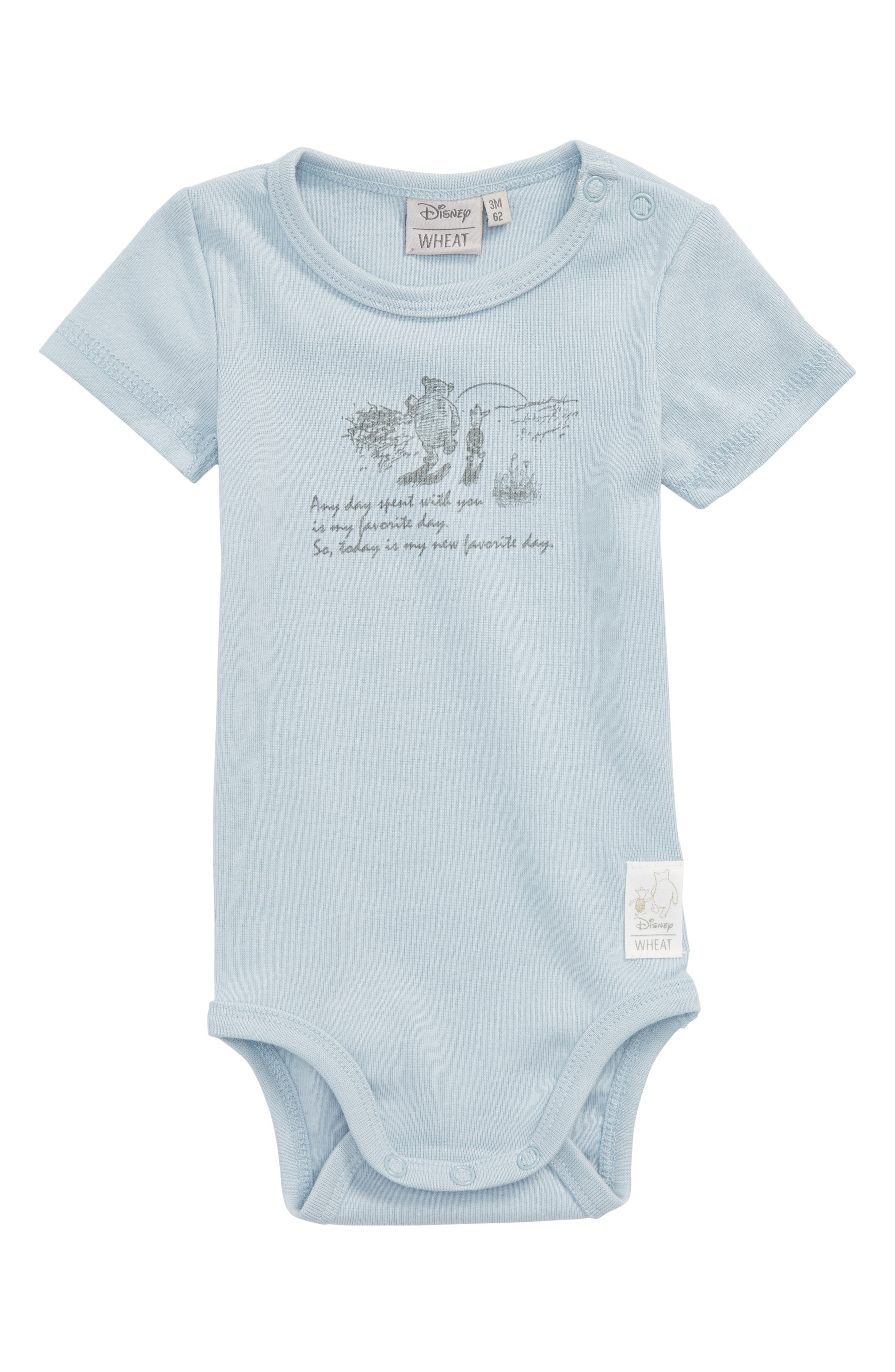 x Disney<sup>®</sup> Winnie the Pooh - Favorite Day Organic Cotton Bodysuit,                         Main,                         color, Sky