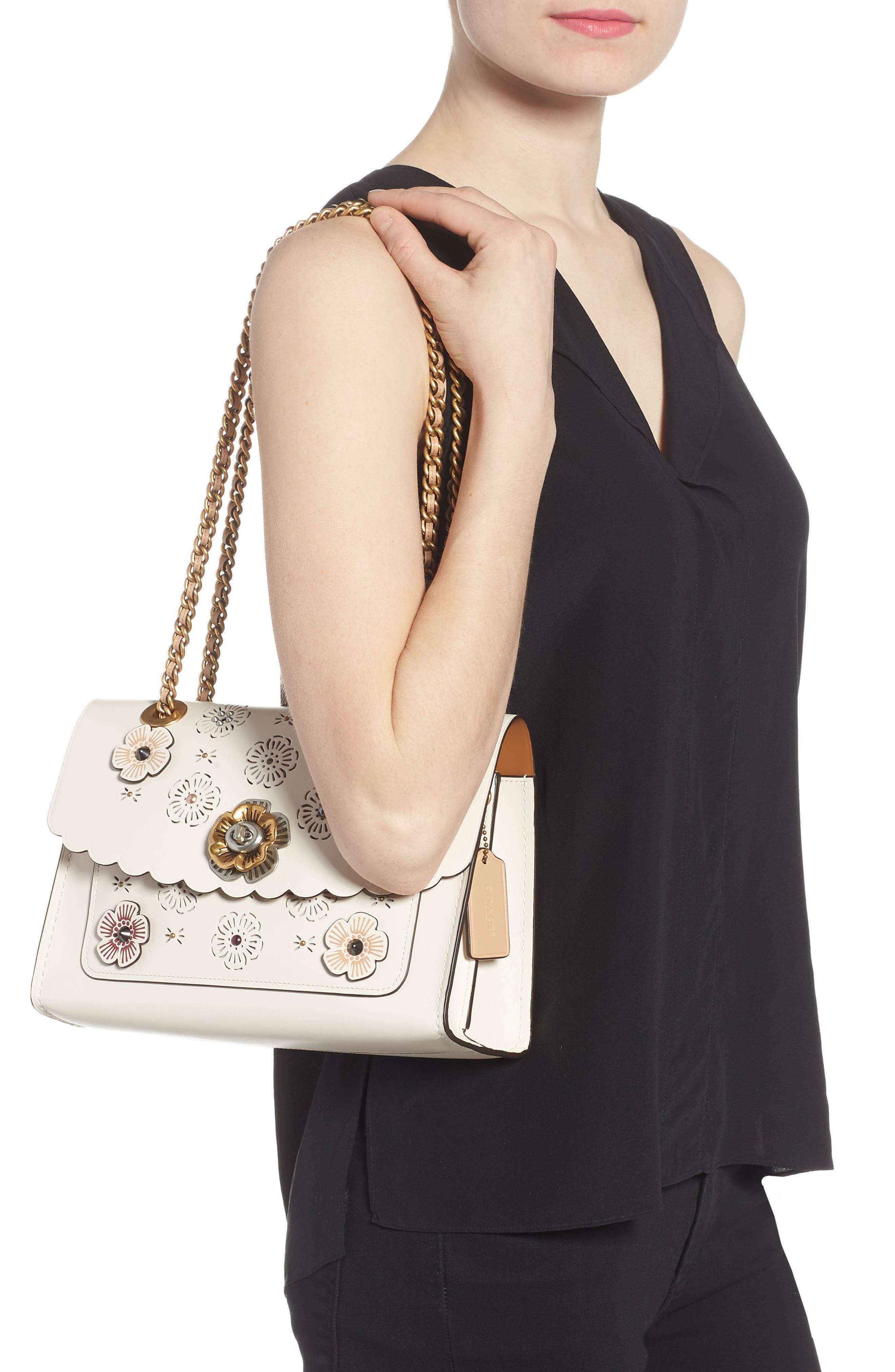 Parker Floral Embellished Leather Shoulder Bag,                             Alternate thumbnail 2, color,                             Chalk Multi