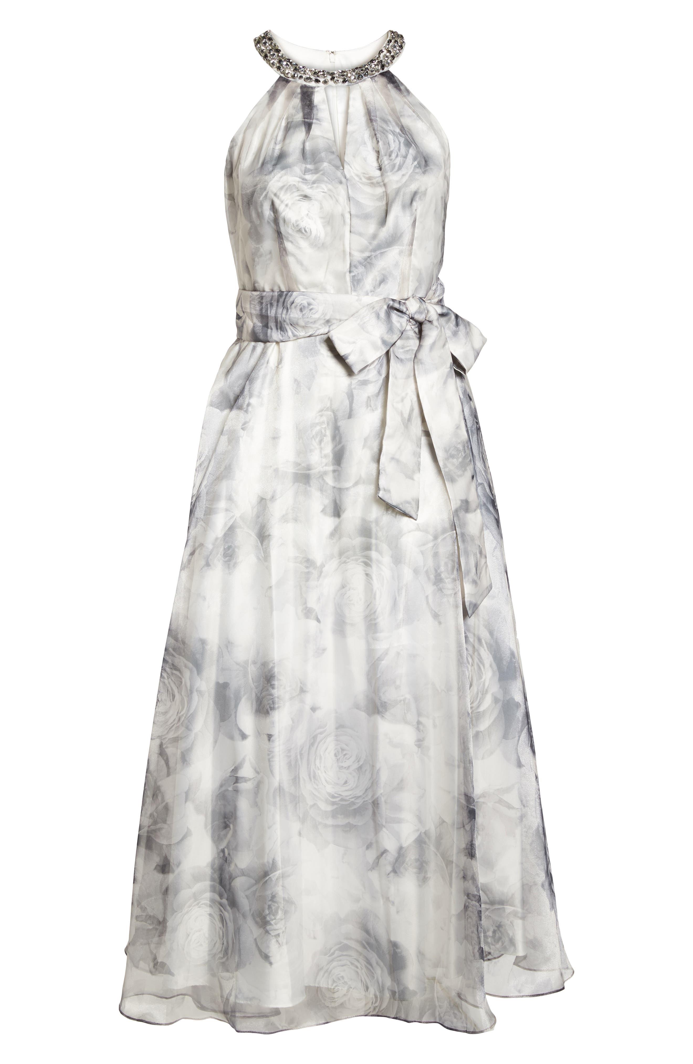 Embellished Neck Rose Print Ballgown,                             Alternate thumbnail 6, color,                             Black/ White