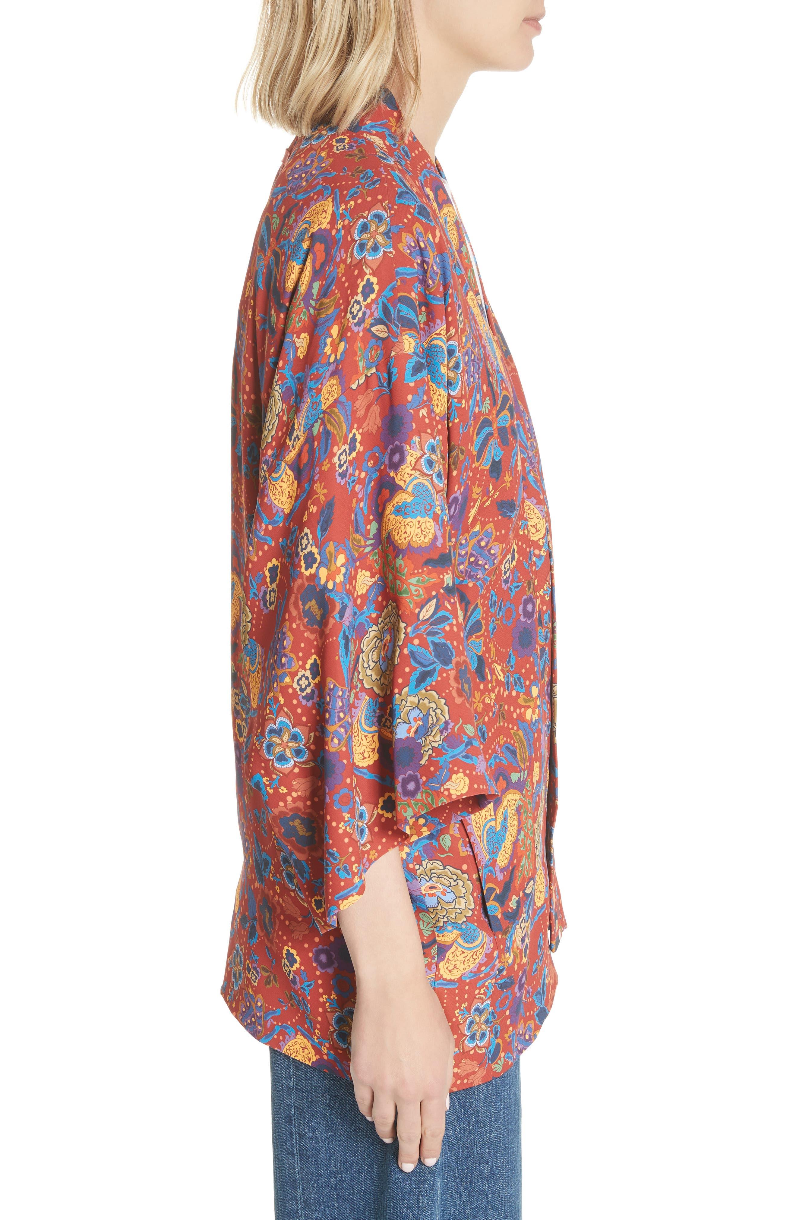 Drew Crop Sleeve Kimono,                             Alternate thumbnail 3, color,                             Tangerine