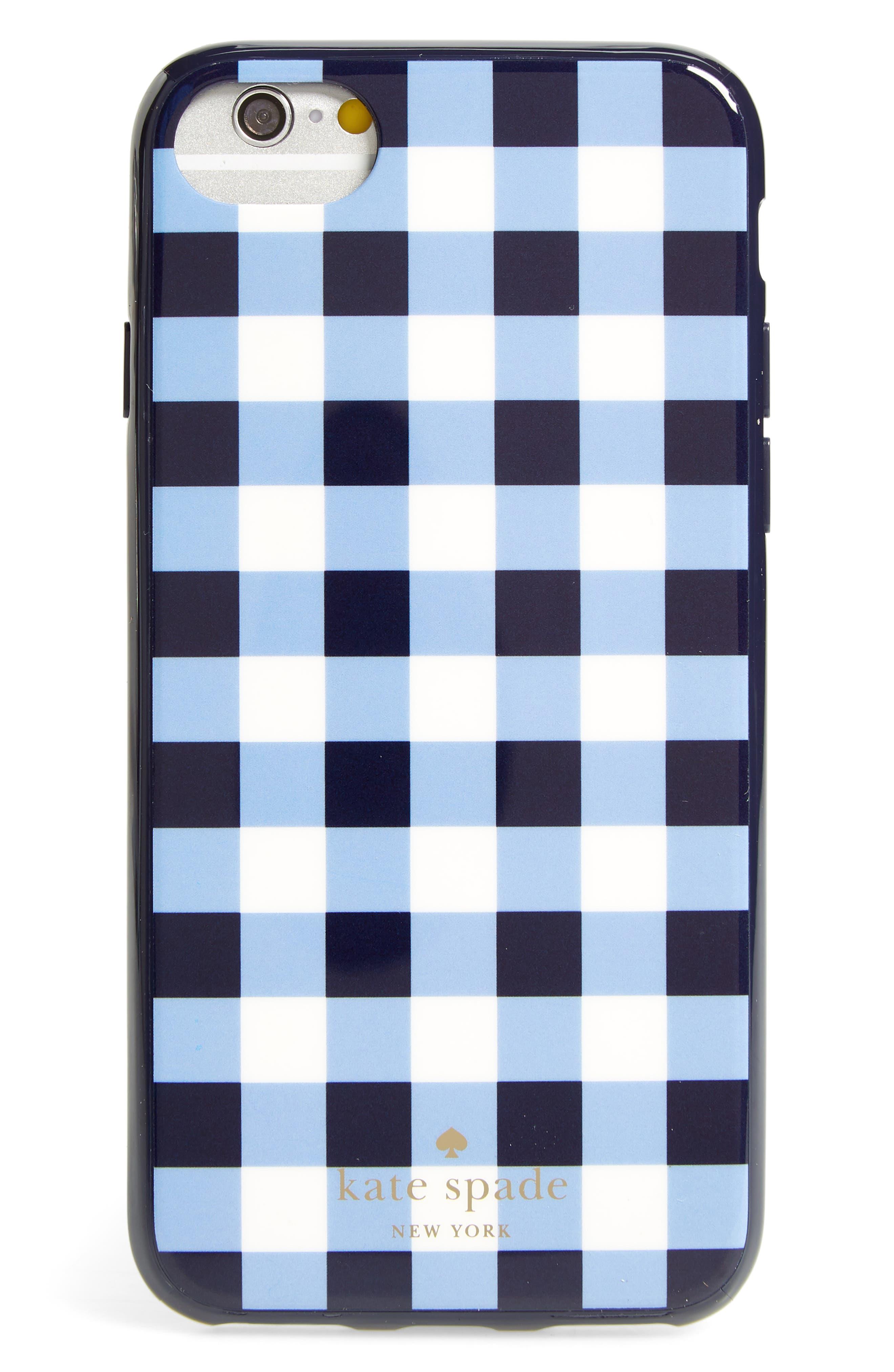 gingham iPhone 7/8 & 7/8 Plus case,                             Main thumbnail 1, color,                             Navy Multi