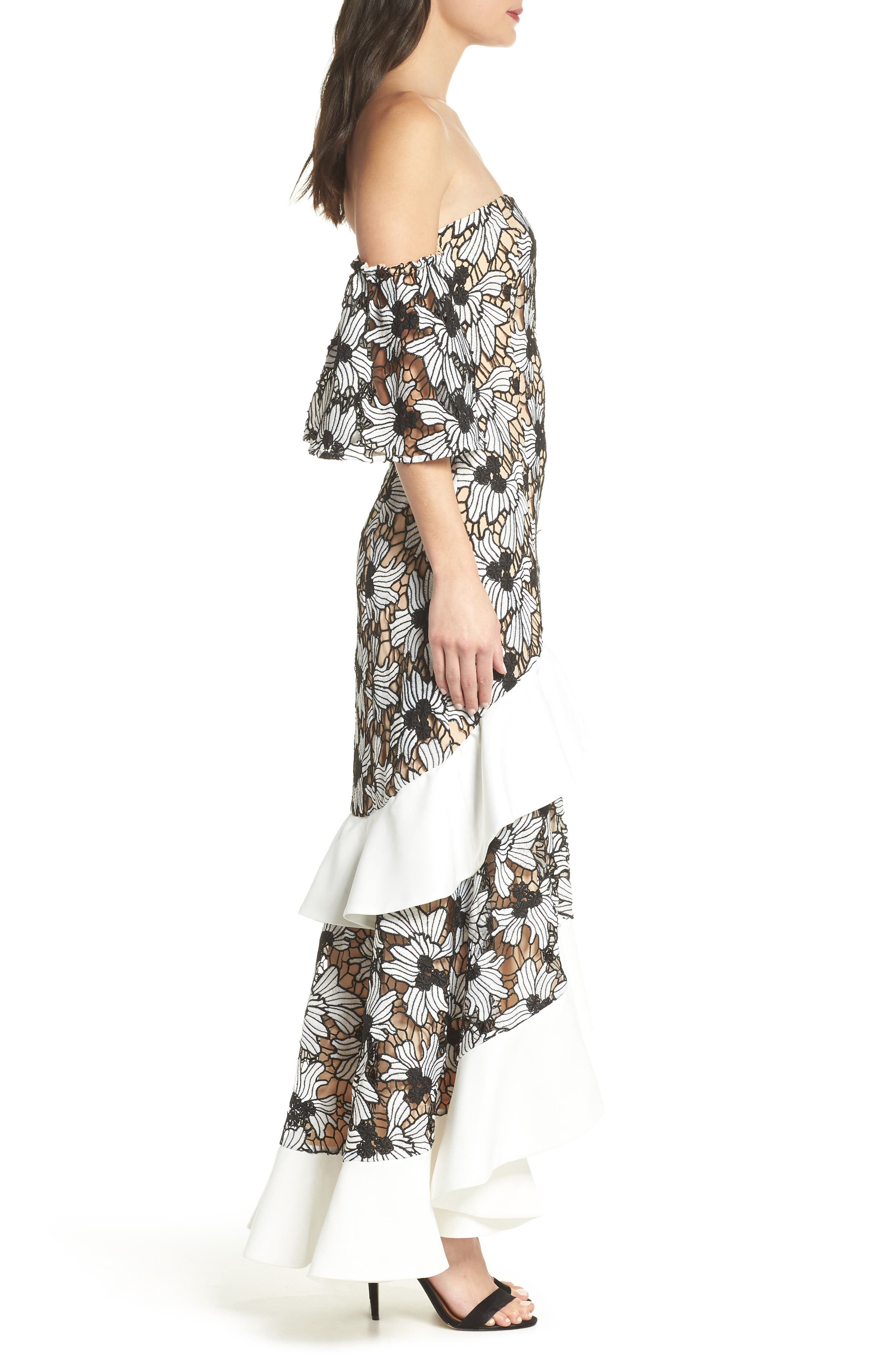 Break Free Off the Shoulder Gown,                             Alternate thumbnail 3, color,                             Ivory
