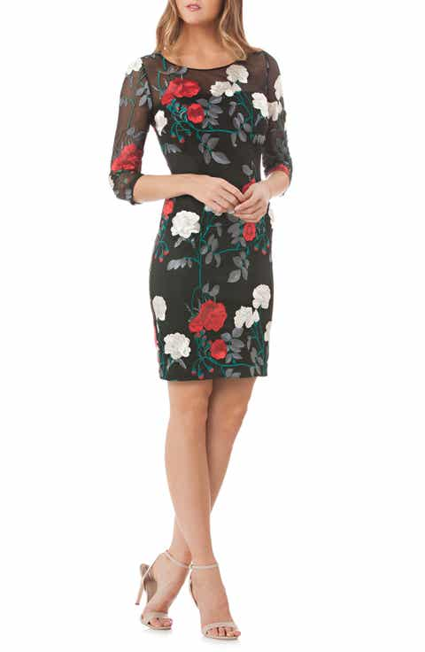 Carmen Marc Valvo Infusion Embroidered Floral Sheath Dress