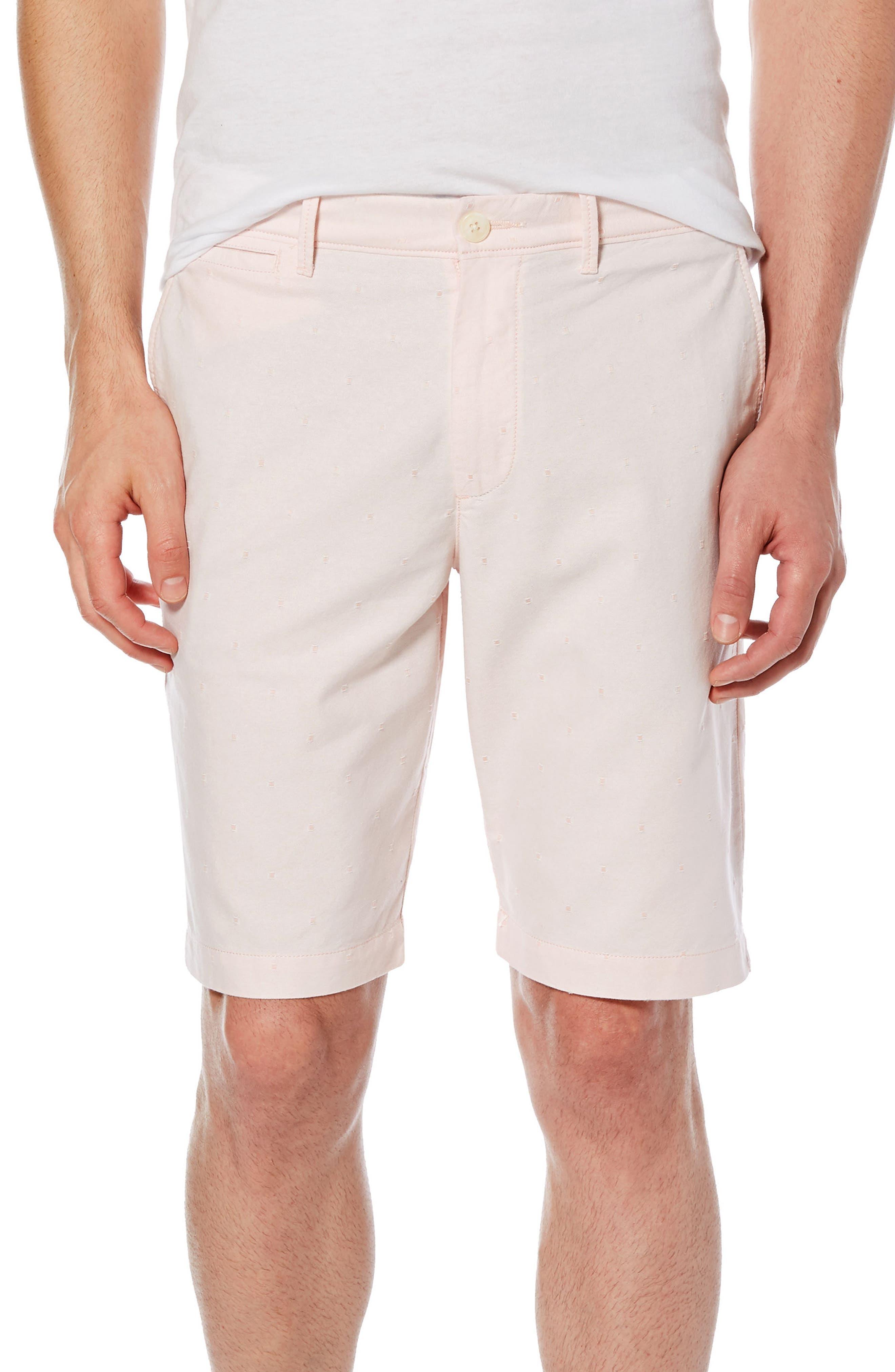 Dobby Dot Slim Fit Oxford Shorts,                             Main thumbnail 1, color,                             Impatiens Pink