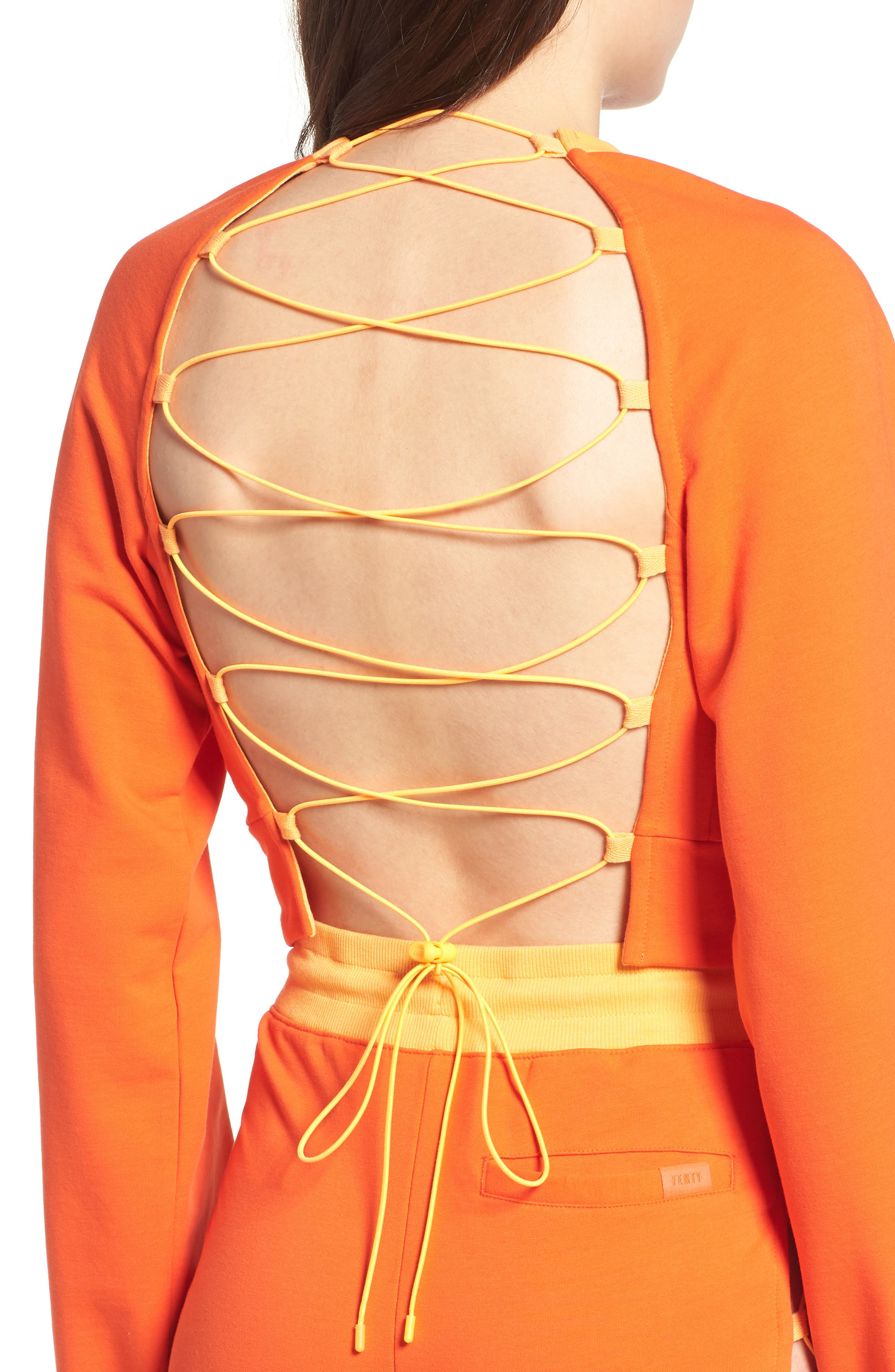 FENTY PUMA by Rihanna Lace-Up Back Sweatshirt,                             Alternate thumbnail 4, color,                             Cherry Tomato