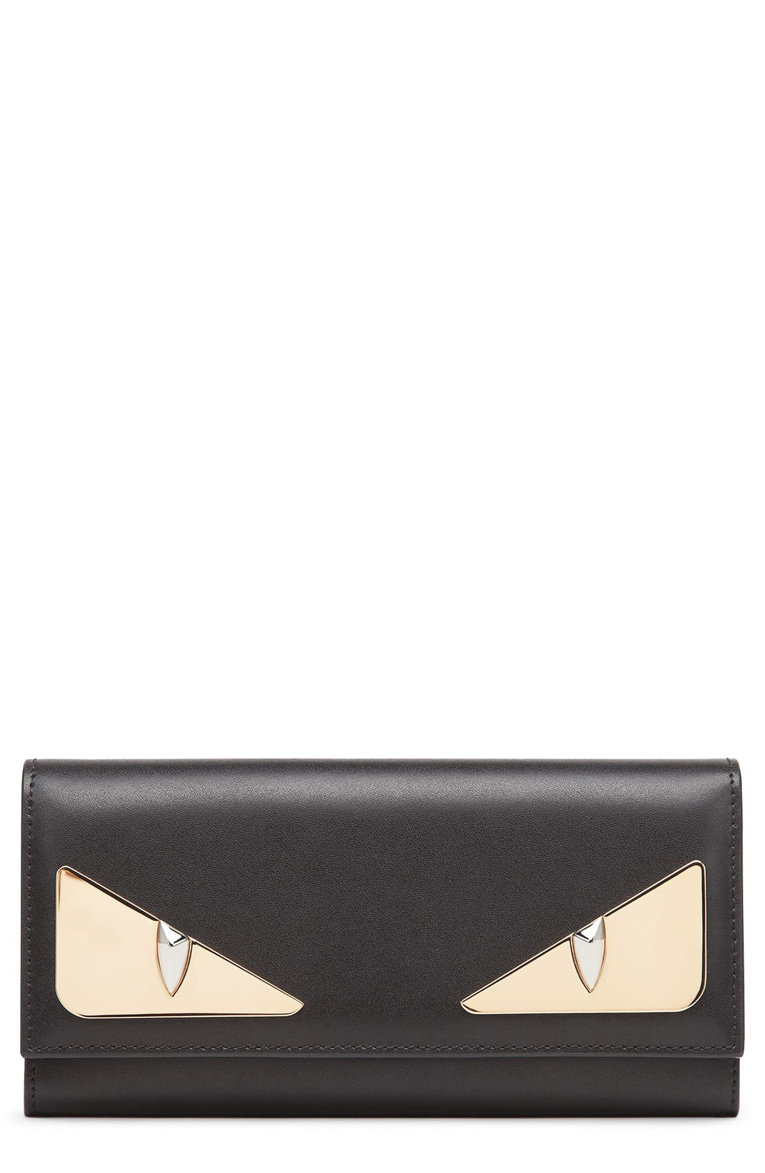 Monter Leather Continental Wallet,                         Main,                         color, Nero/ Oro Soft