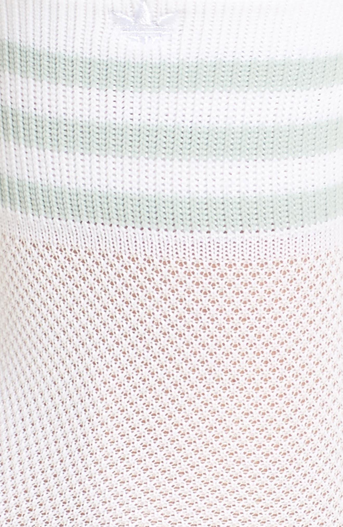 Stripe Mesh Ankle Socks,                             Alternate thumbnail 2, color,                             White/ Ash Green