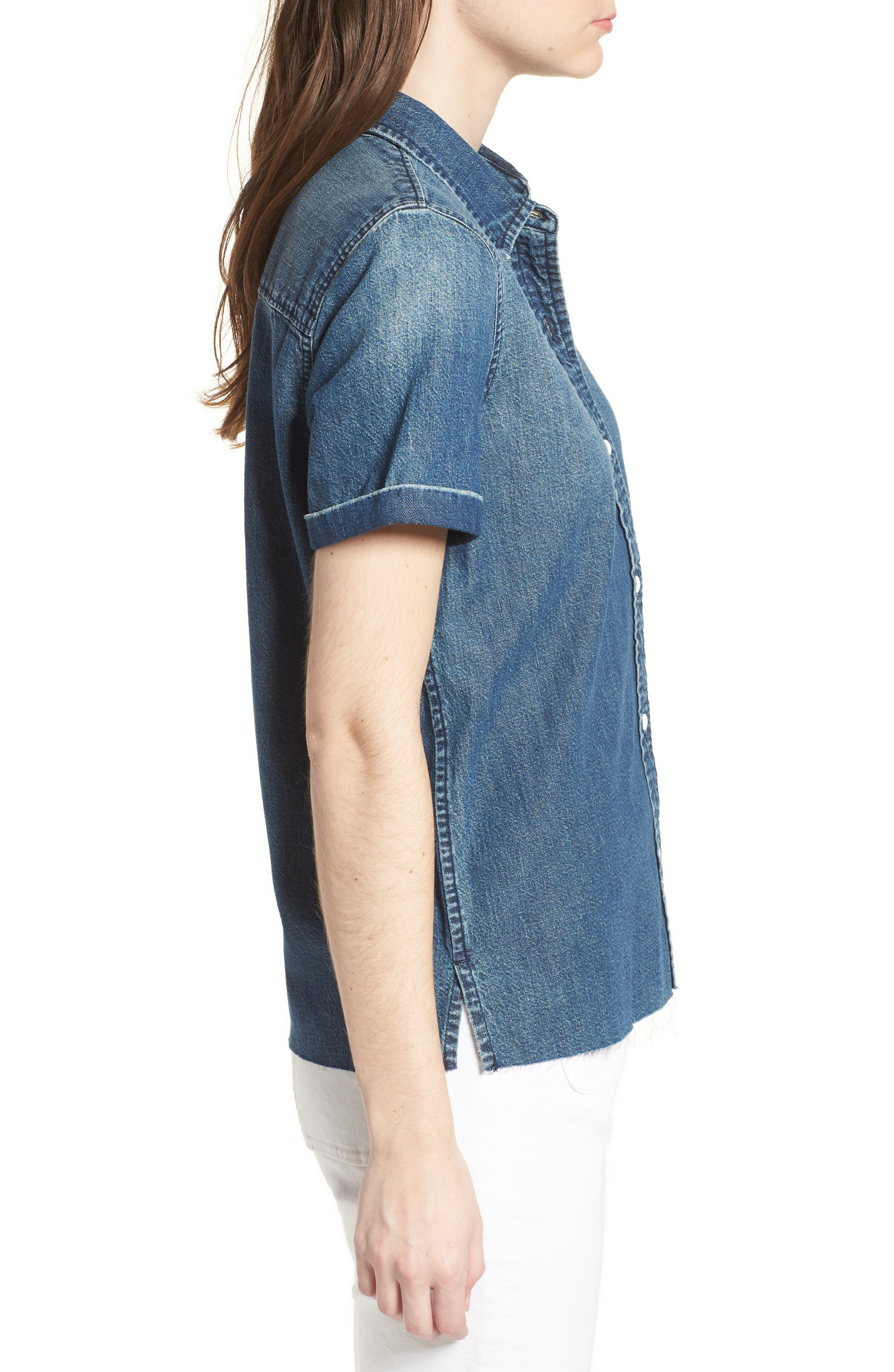 The Lu Denim Shirt,                             Alternate thumbnail 3, color,                             Conifer Wash