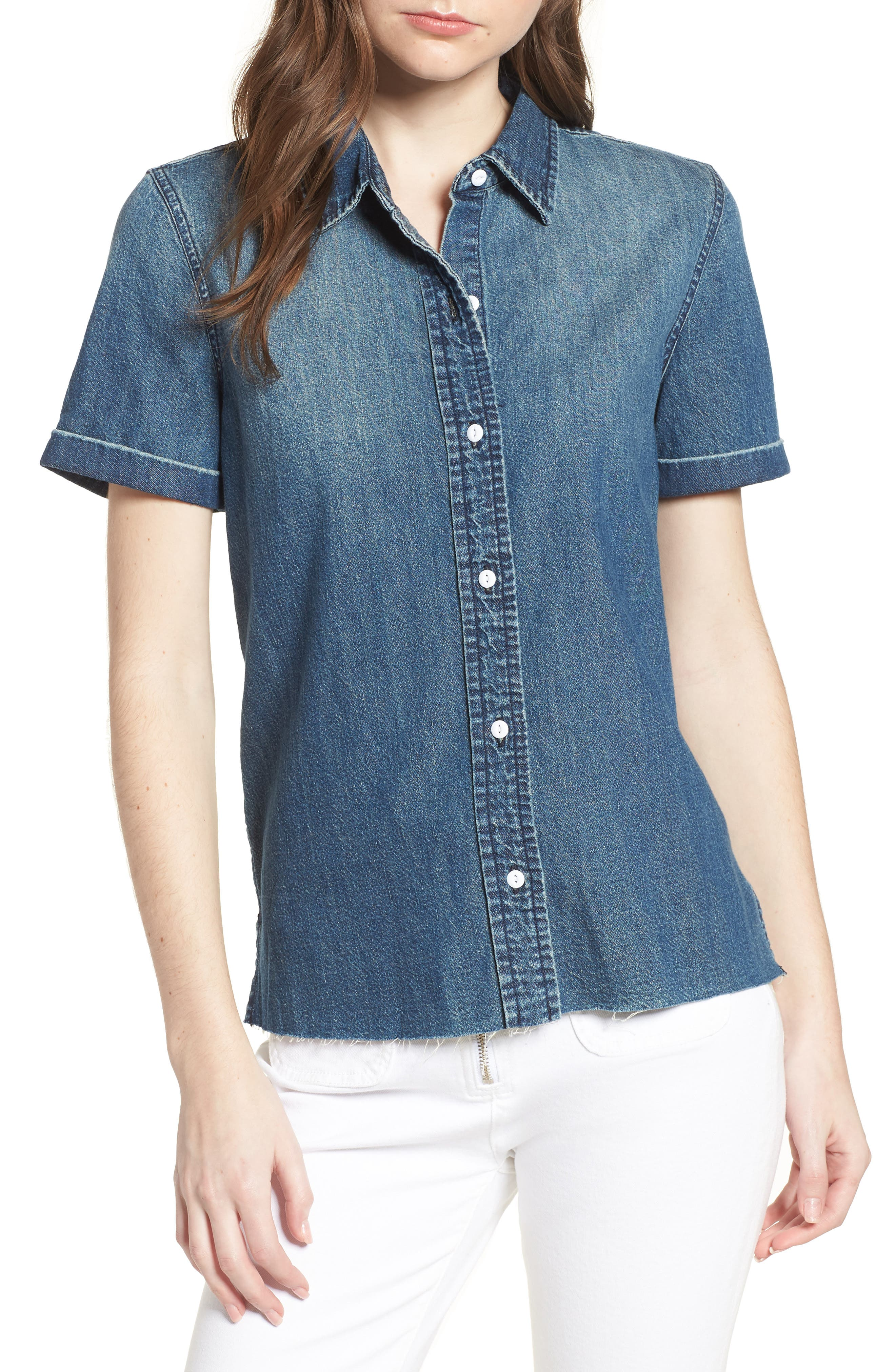 The Lu Denim Shirt,                             Main thumbnail 1, color,                             Conifer Wash