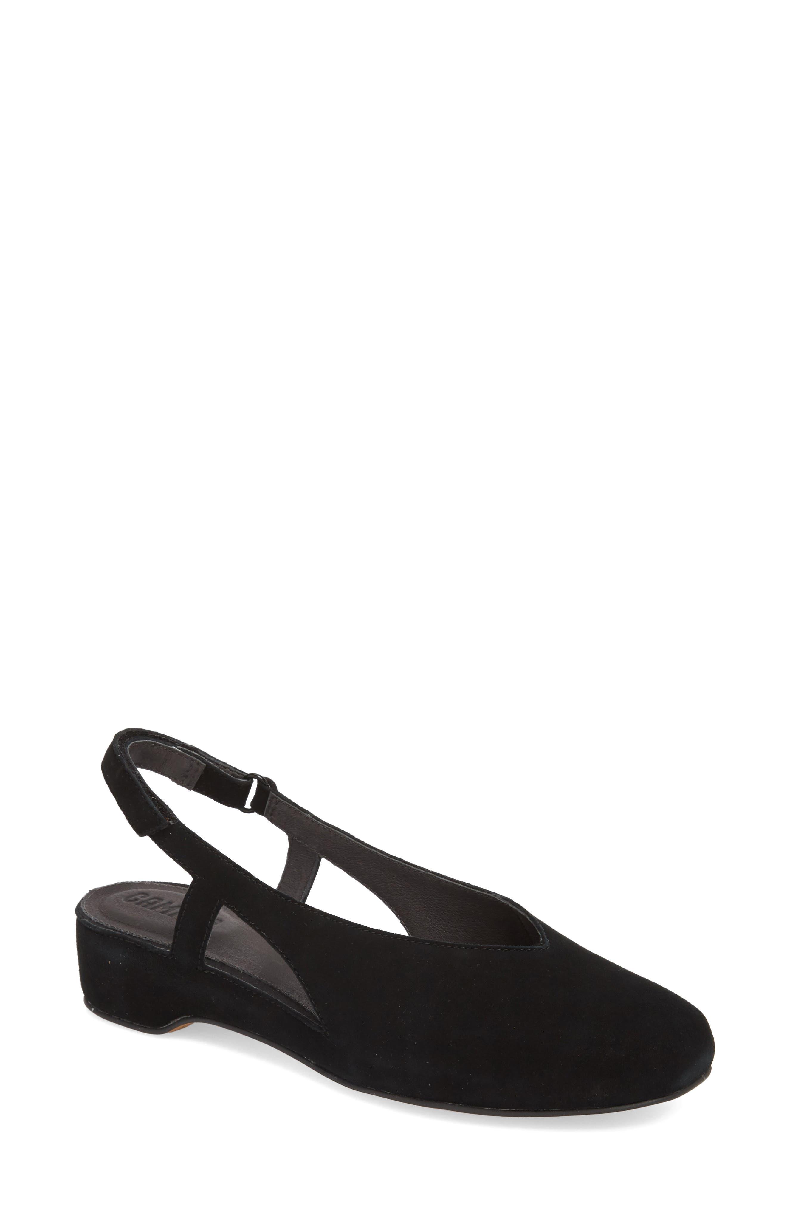 Serena Slingback Flat,                         Main,                         color, Black Suede