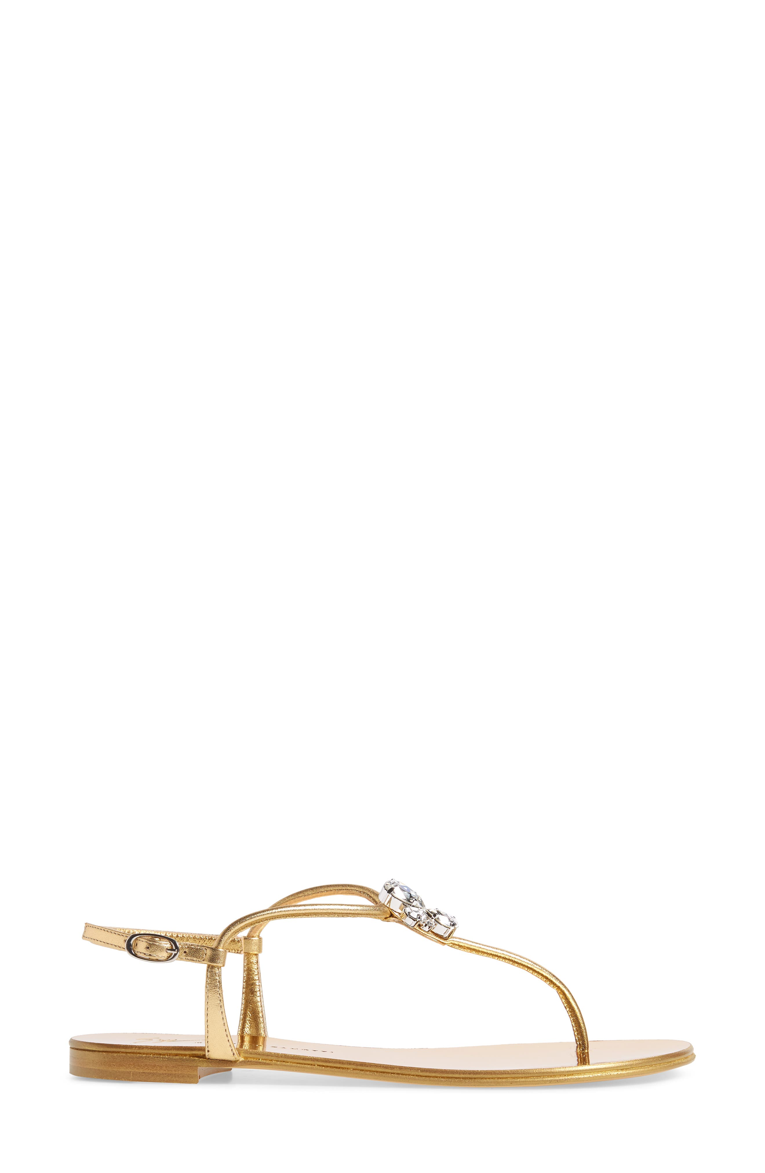 Crystal T-Strap Sandal,                             Alternate thumbnail 3, color,                             Gold