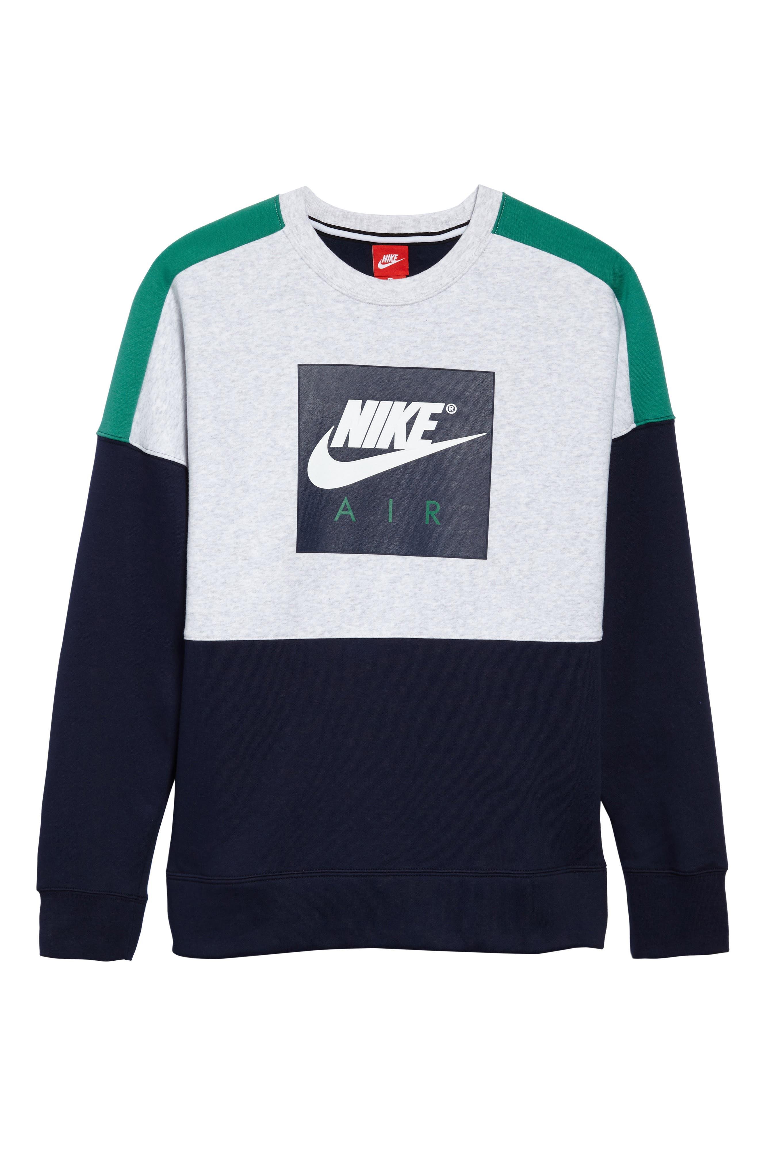 NSW Air Crewneck Sweatshirt,                             Alternate thumbnail 6, color,                             Birch/ Green/ Obsidian/ White