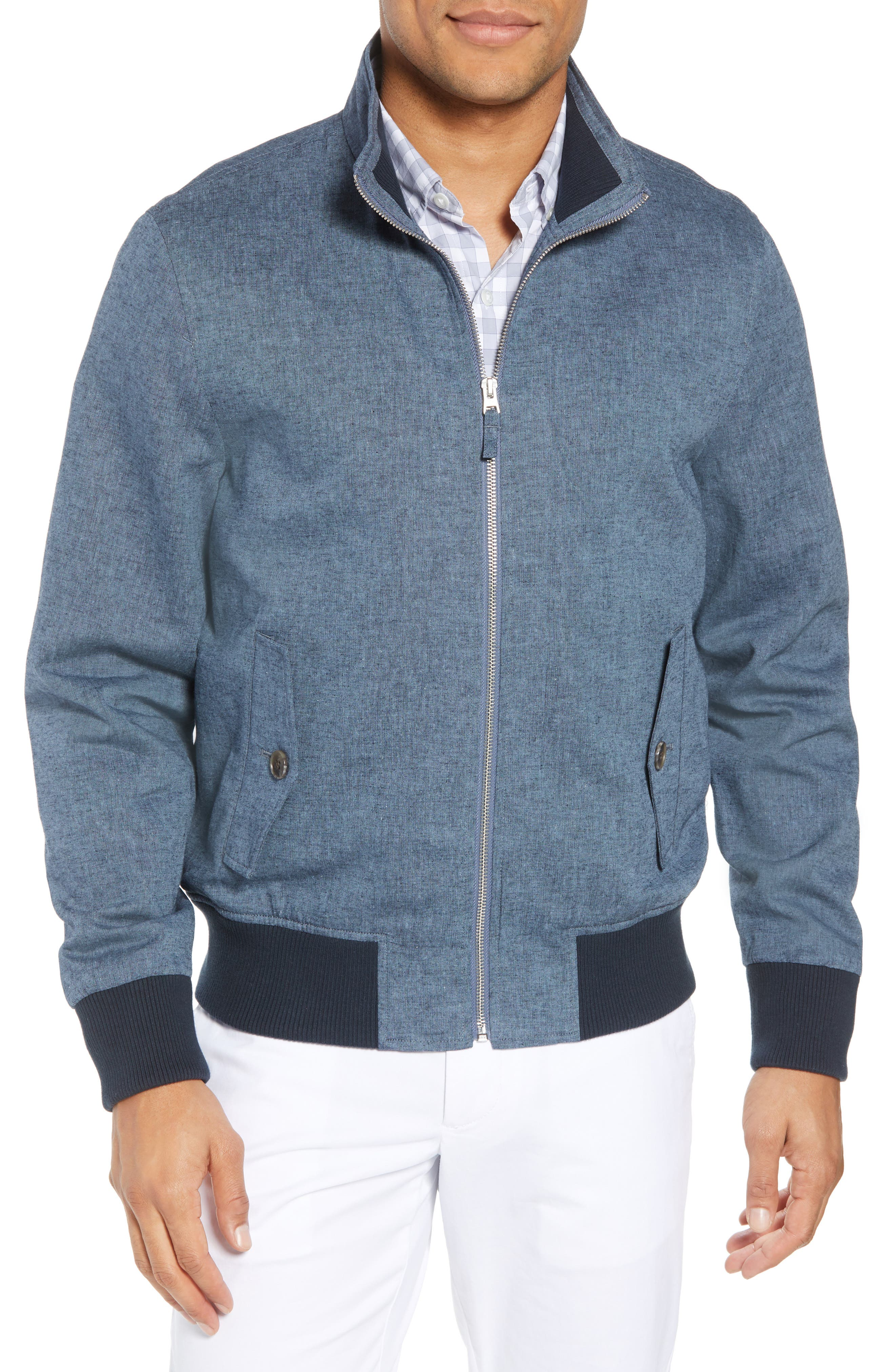 Linen & Cotton Chambray Bomber Jacket,                         Main,                         color, Solid - Chambray
