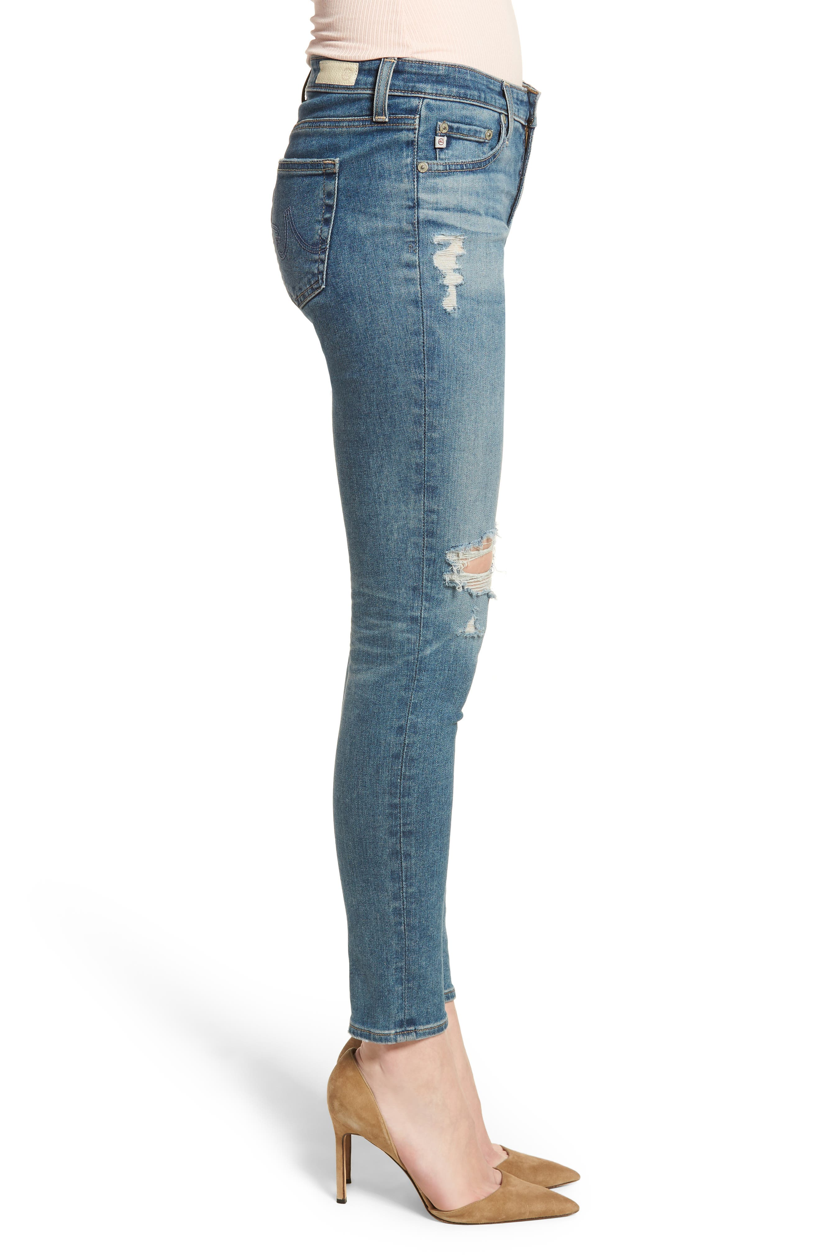 The Legging Ankle Super Skinny Jeans,                             Alternate thumbnail 3, color,                             13 Years Pacifica Destructed