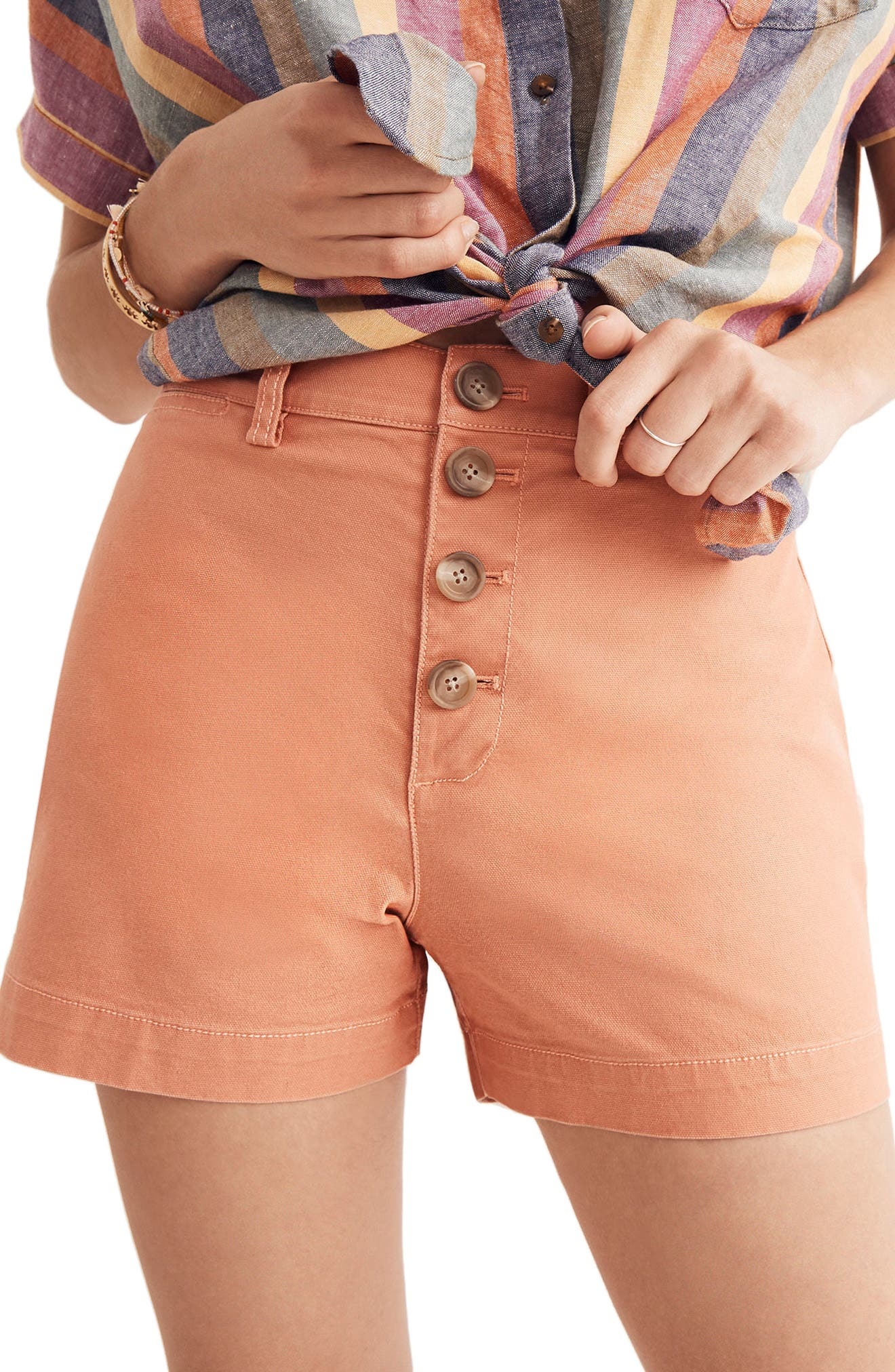 Emmett Button Front Shorts,                         Main,                         color, Dried Coral