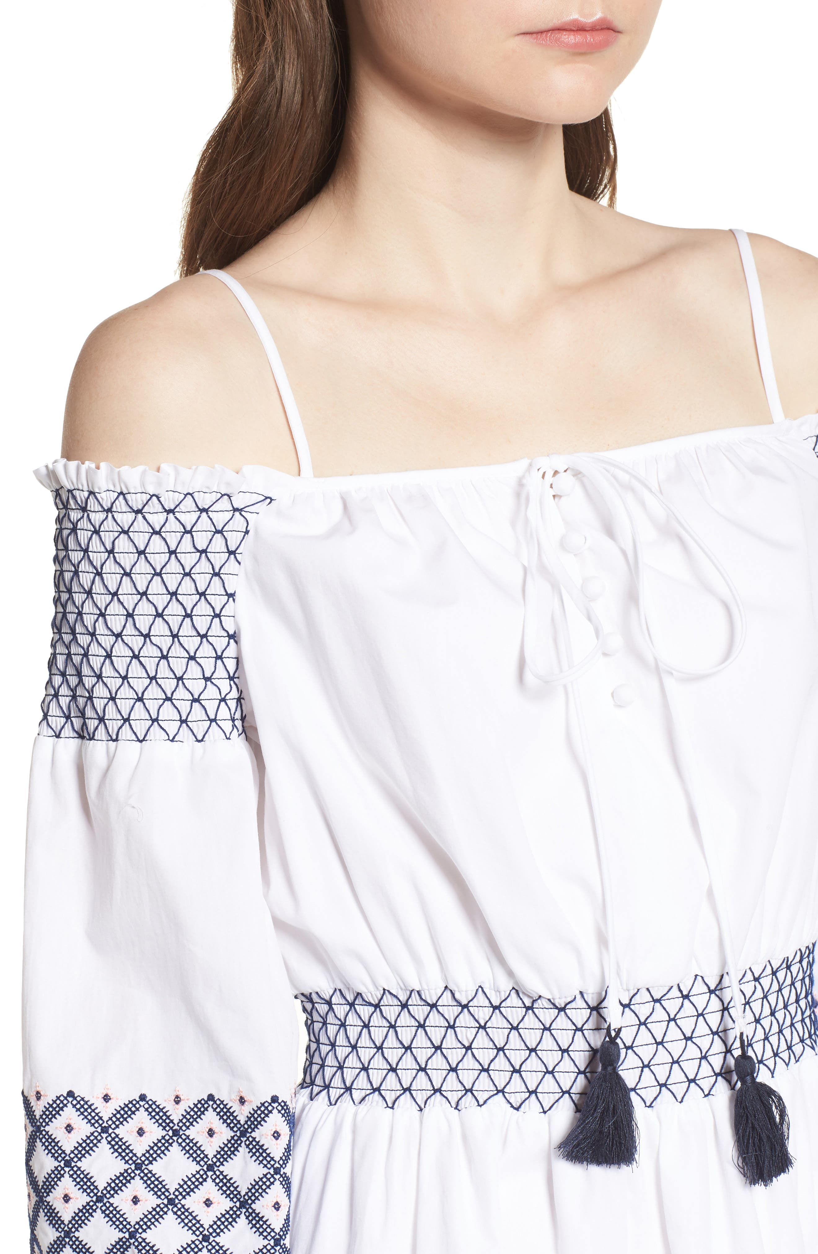 Brittany Embroidered Cold Shoulder Dress,                             Alternate thumbnail 4, color,                             White