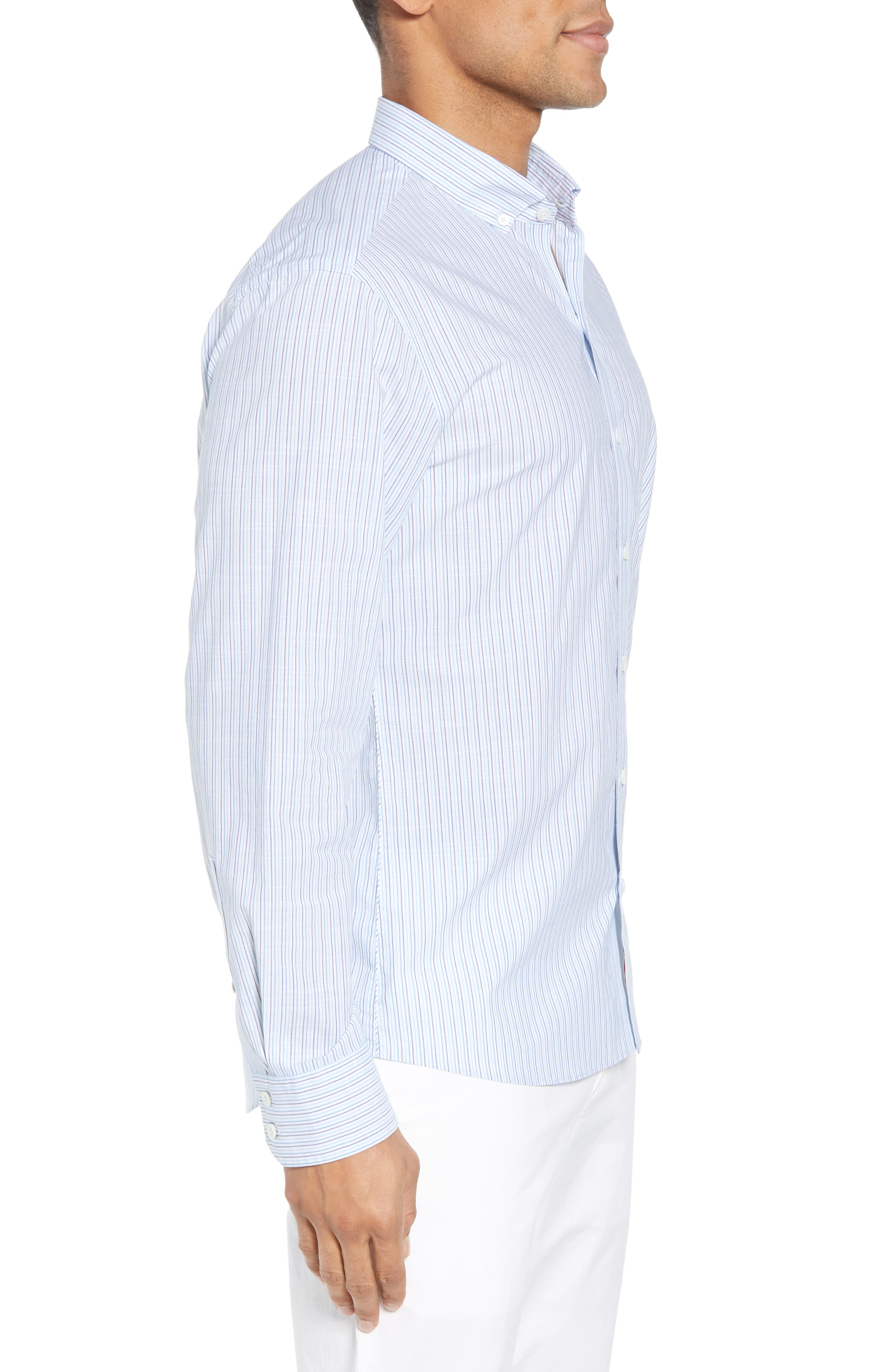 Skeeter Stripe Sport Shirt,                             Alternate thumbnail 4, color,                             Aqua