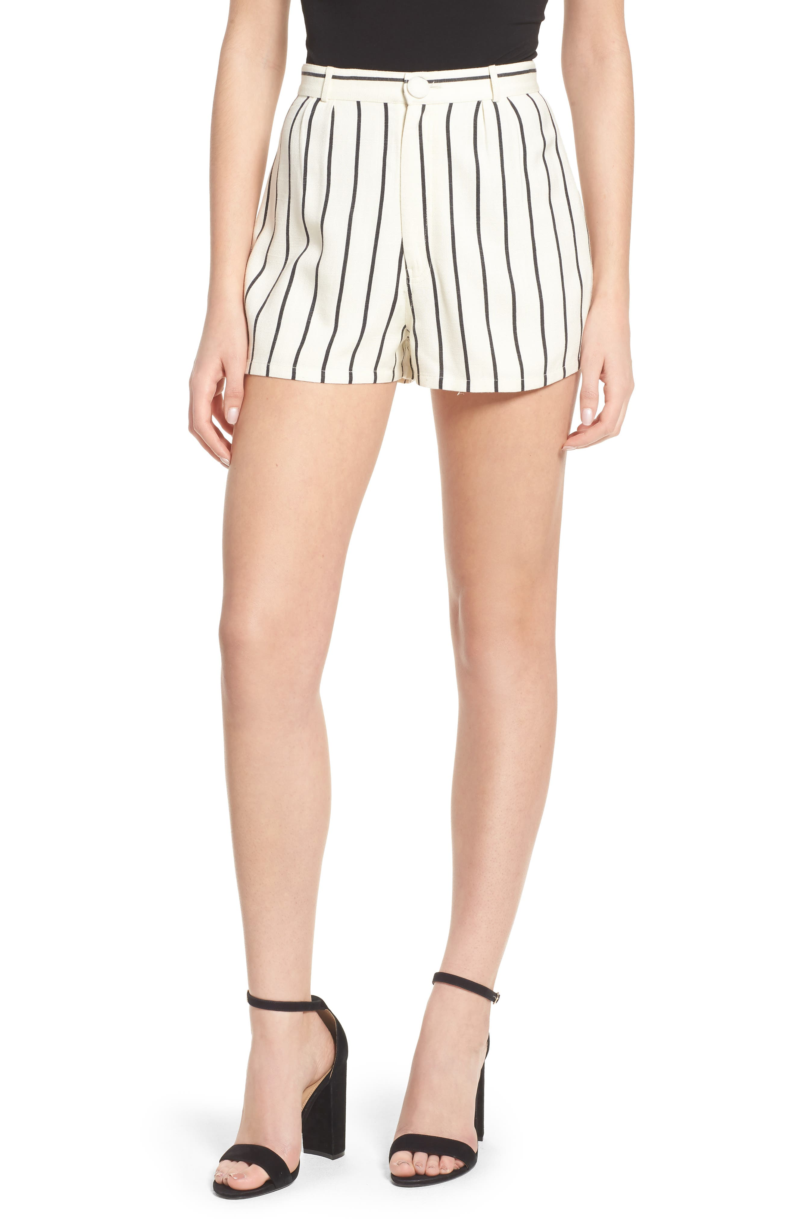 Jordy Stripe High Waist Shorts,                         Main,                         color, Natural And Black