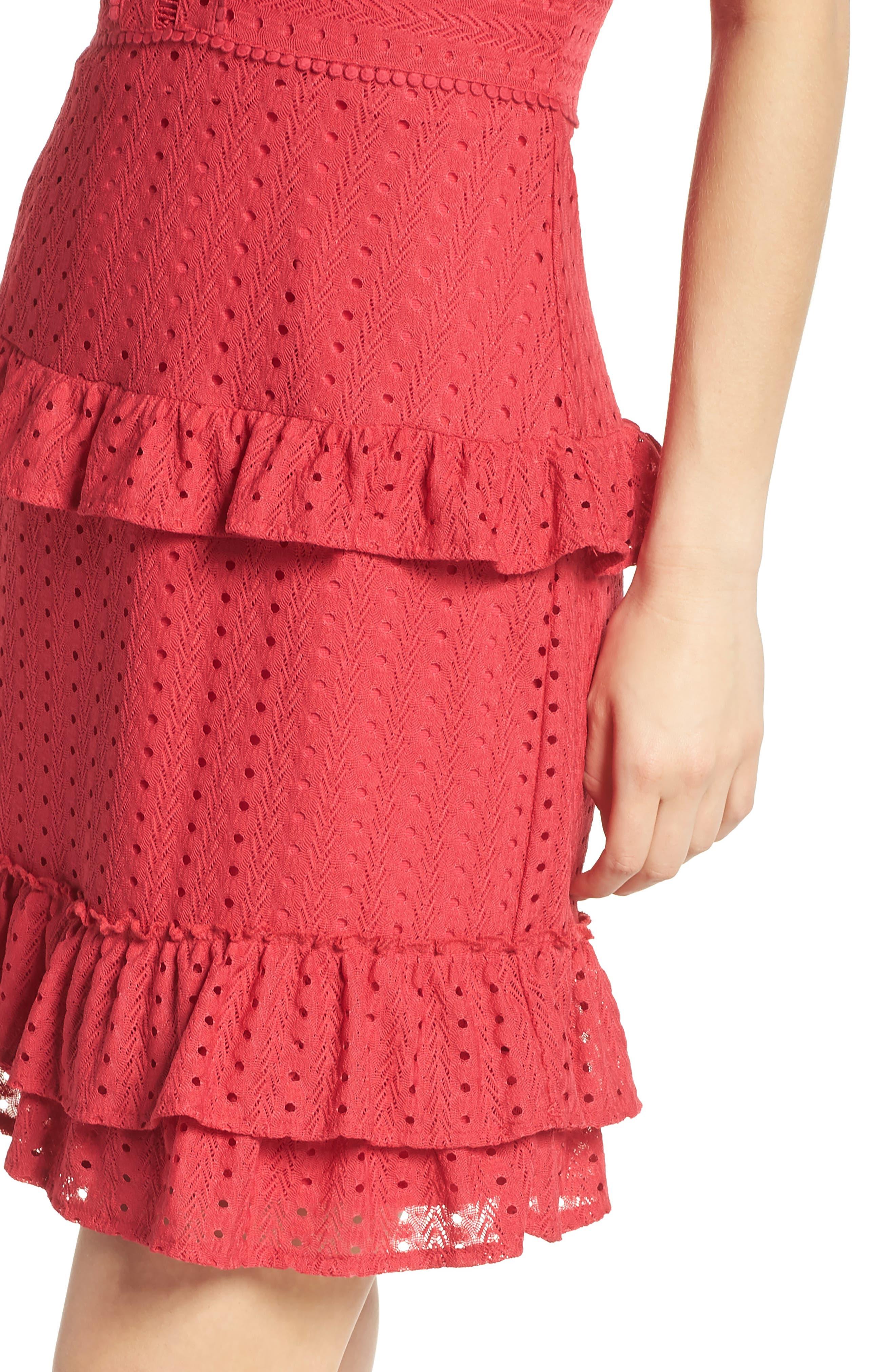Sleeveless Ruffle Knit Sheath Dress,                             Alternate thumbnail 4, color,                             Pink Rose