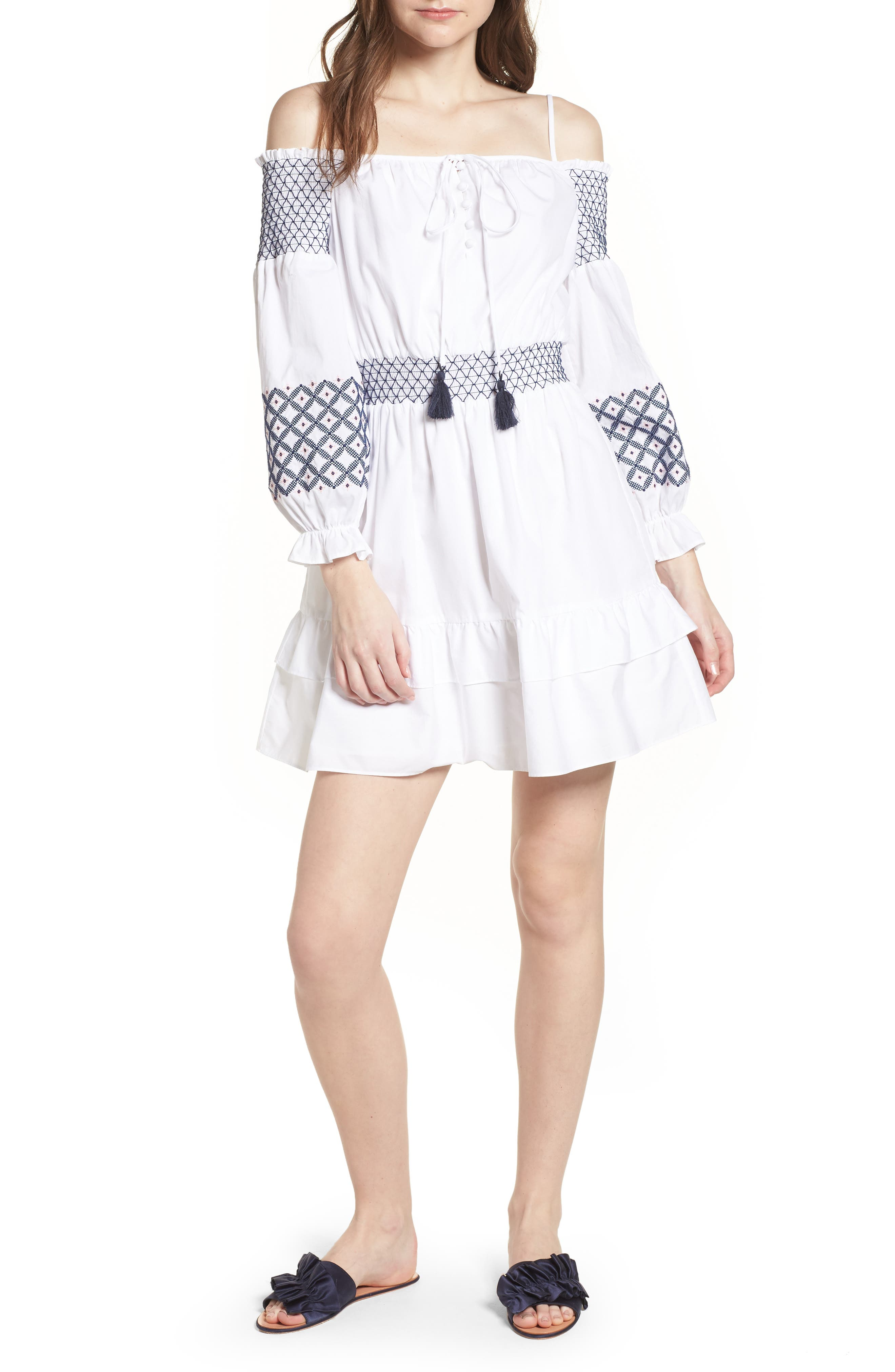 Brittany Embroidered Cold Shoulder Dress,                         Main,                         color, White