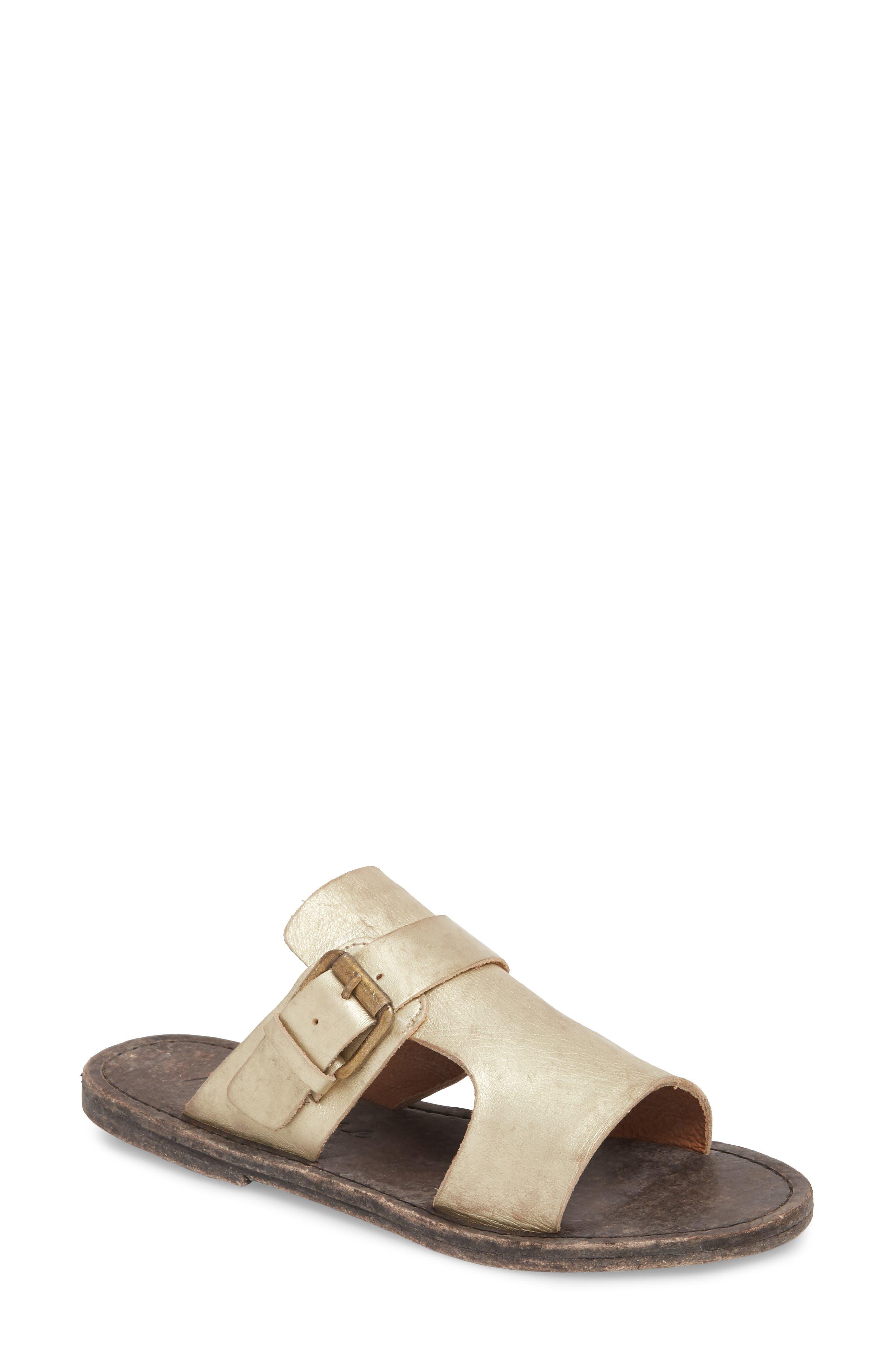 Abbie Slide Sandal,                         Main,                         color, Gold Leather