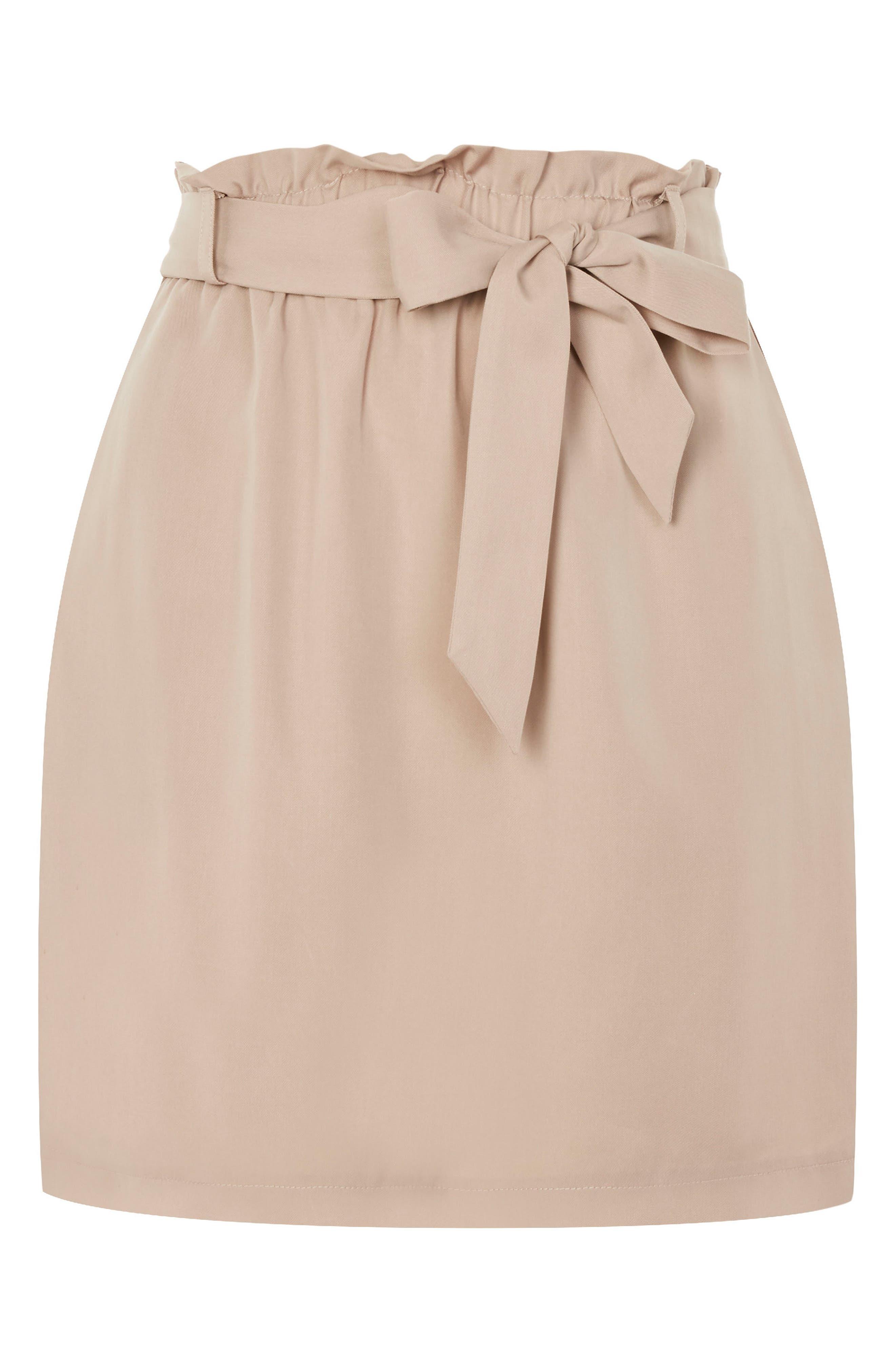 Paperbag Tie Miniskirt,                             Alternate thumbnail 4, color,                             Blush