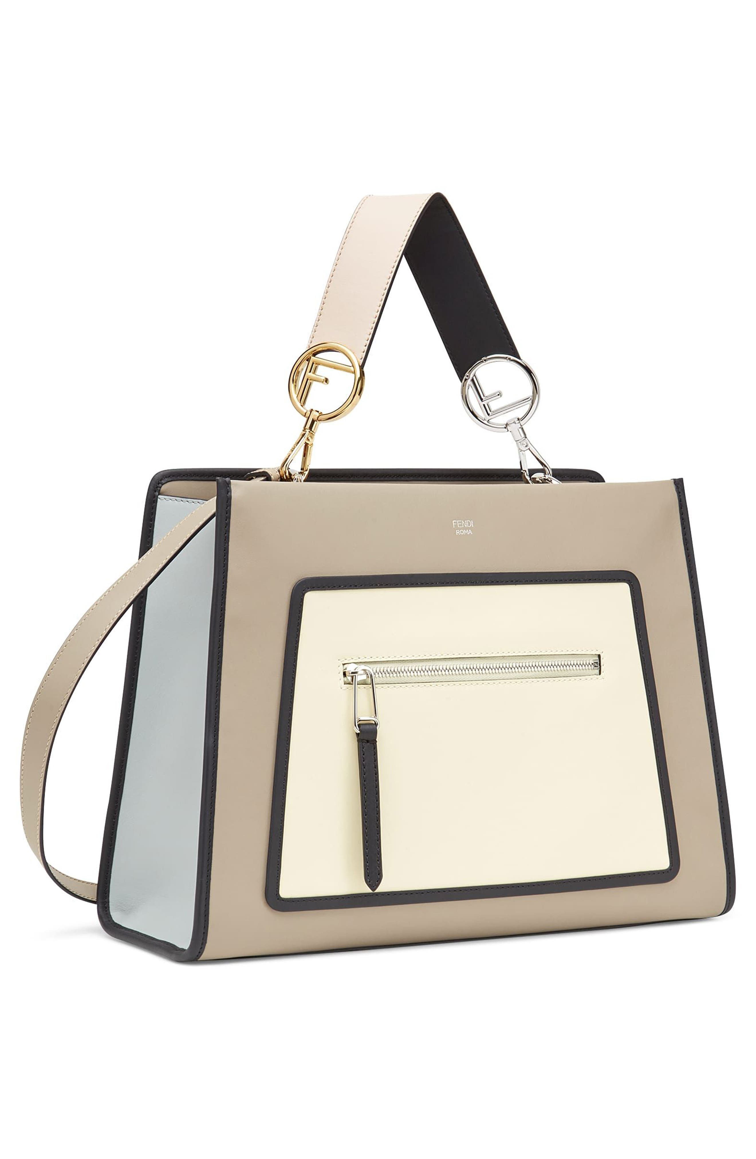 Runaway Colorblock Leather Tote,                             Alternate thumbnail 4, color,                             Taupe/ Ivory Multi