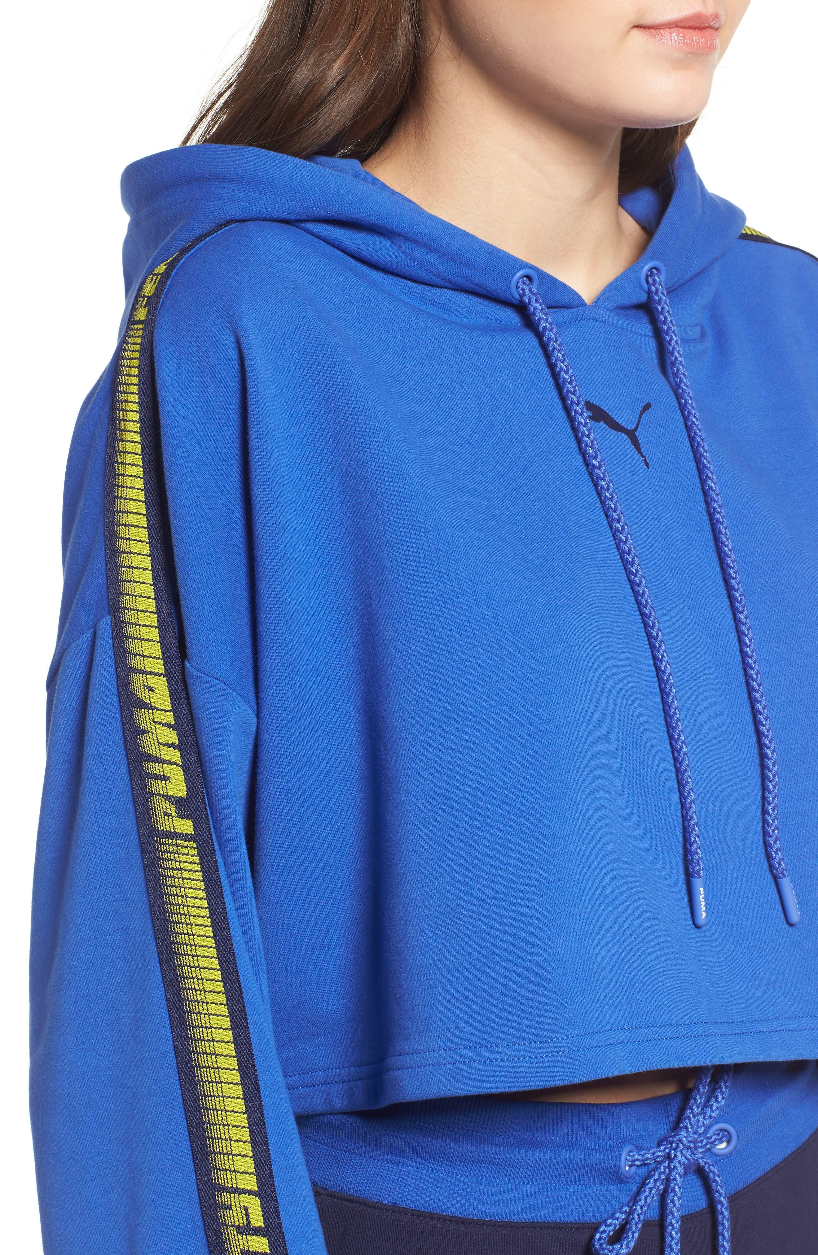 FENTY PUMA by Rihanna Hooded Crop Sweatshirt,                             Alternate thumbnail 4, color,                             Dazzling Blue