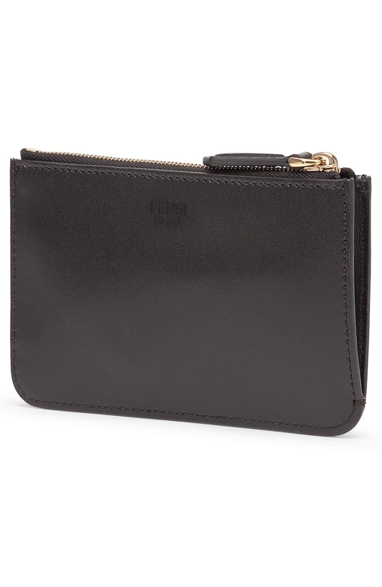 Monster Leather Key Pouch,                             Alternate thumbnail 3, color,                             Nero/ Oro Soft