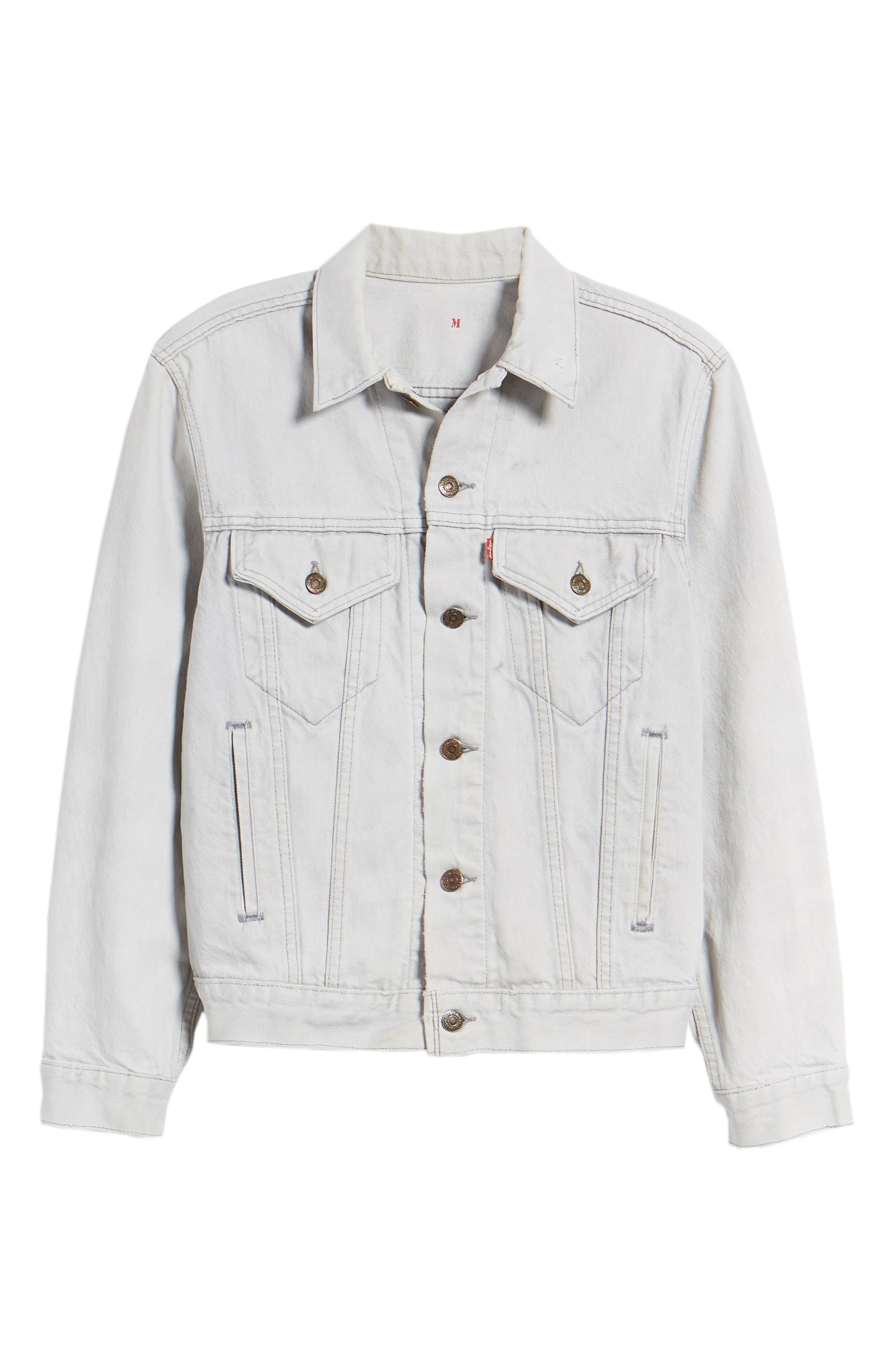 Authorized Vintage Denim Trucker Jacket,                             Alternate thumbnail 6, color,                             Av Black