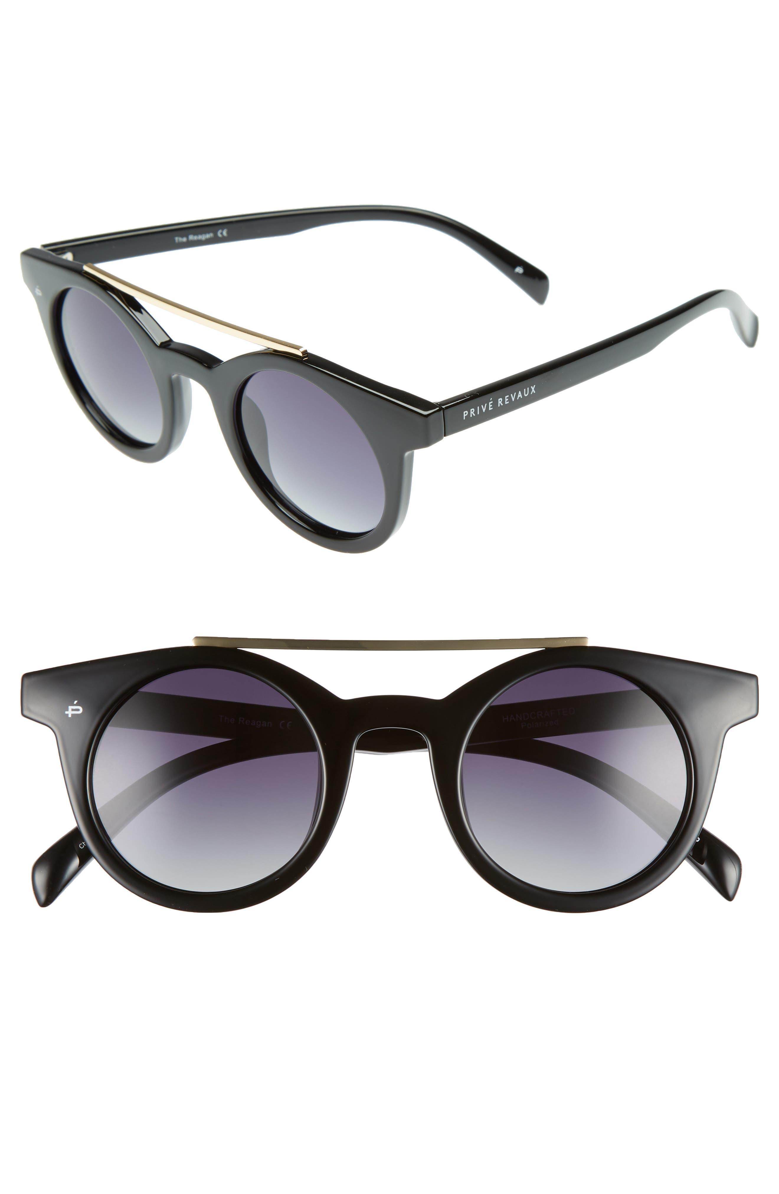 Privé Revaux The Reagan 43mm Polarized Round Sunglasses,                         Main,                         color, Black