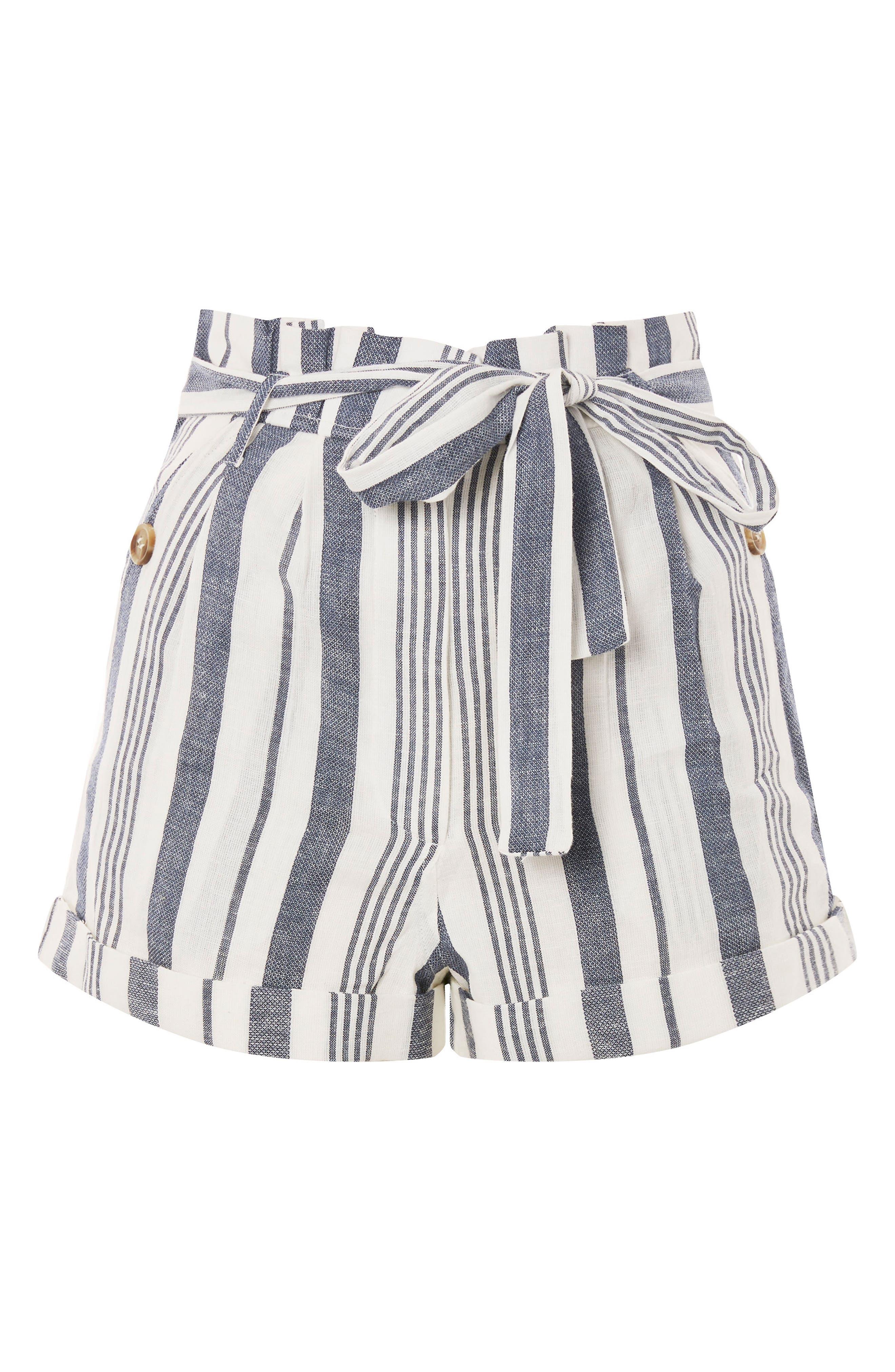 Stripe Paperbag Shorts,                             Alternate thumbnail 4, color,                             Ivory Multi
