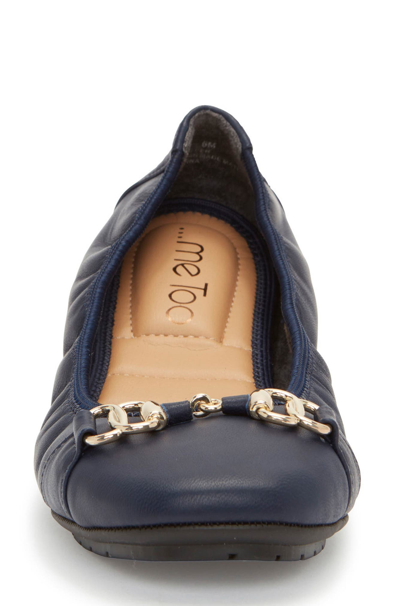 Olympia Skimmer Flat,                             Alternate thumbnail 3, color,                             Navy Leather