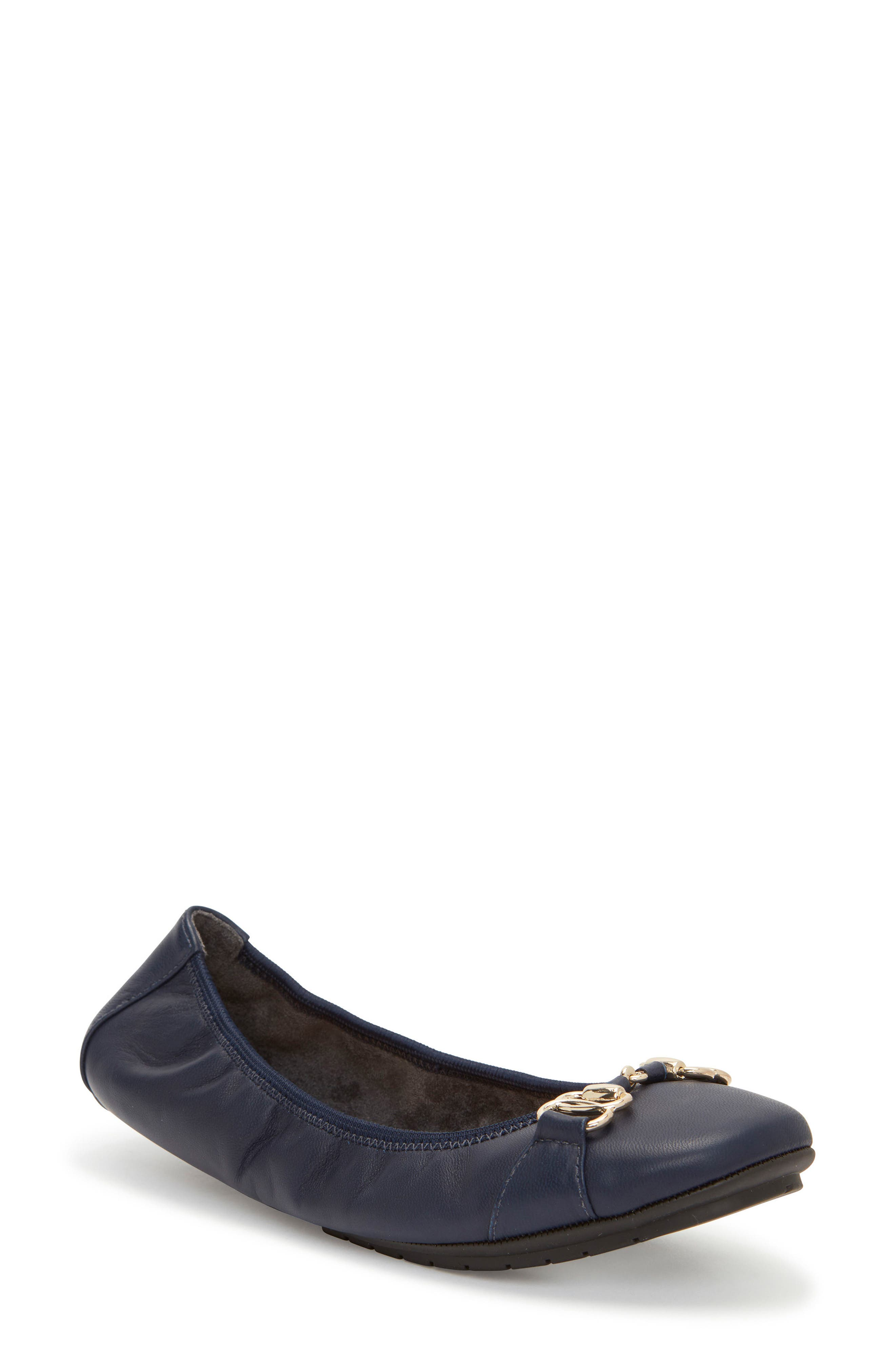 Olympia Skimmer Flat,                         Main,                         color, Navy Leather