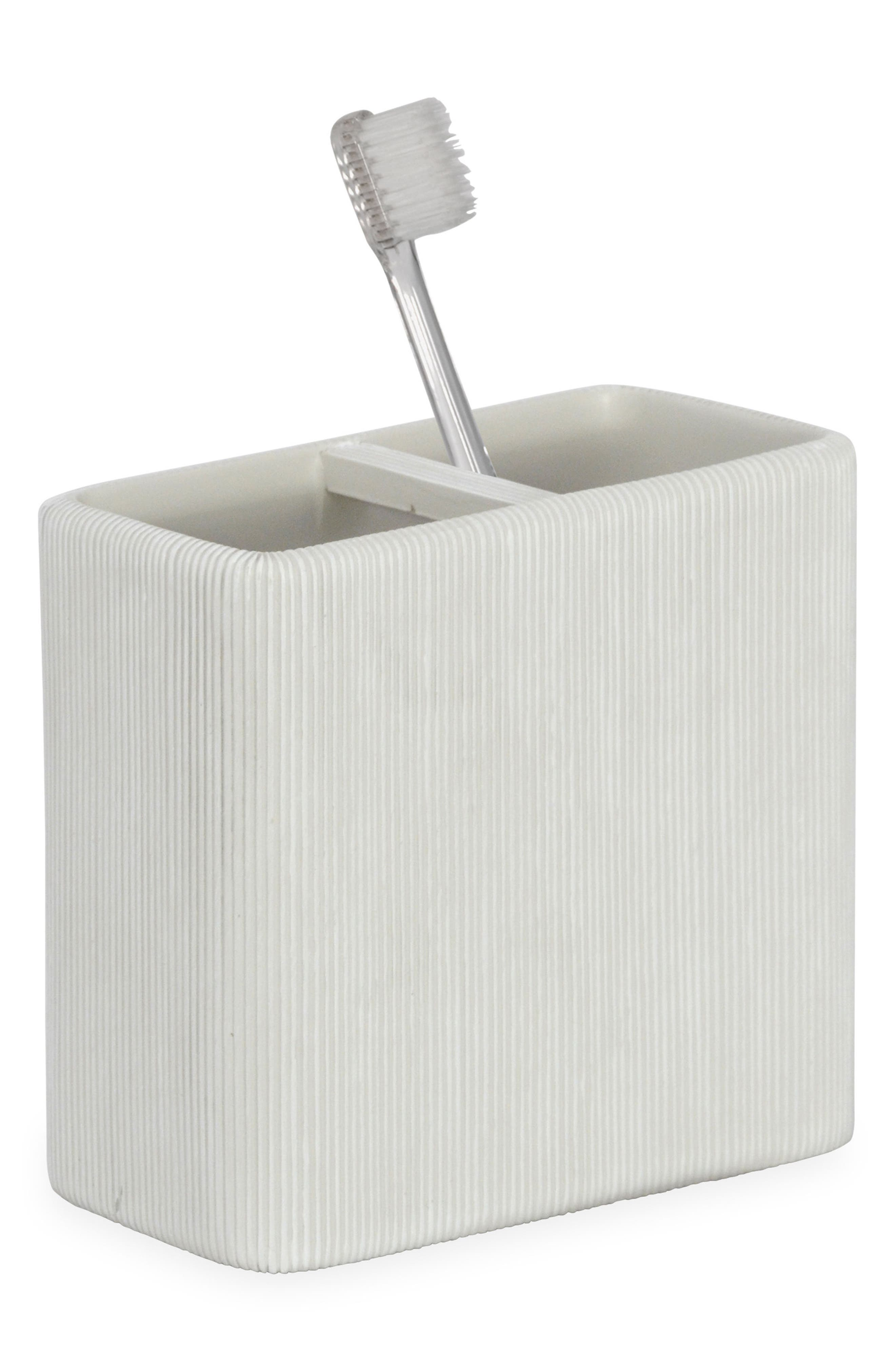 Fine Lines Ceramic Toothbrush Holder,                         Main,                         color, White